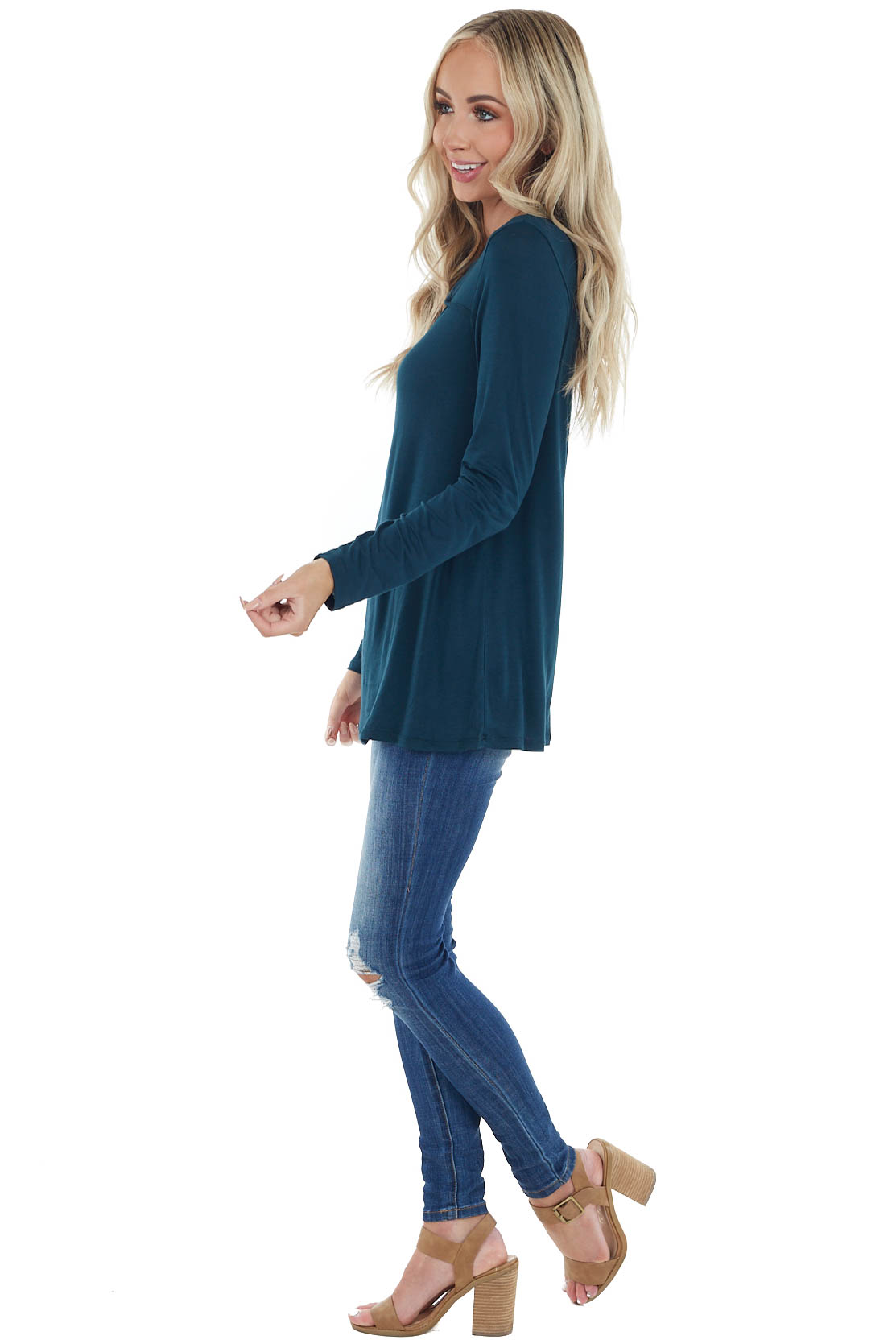 Dark Pine Soft Stretchy Long Sleeve Top with Chest Cutout