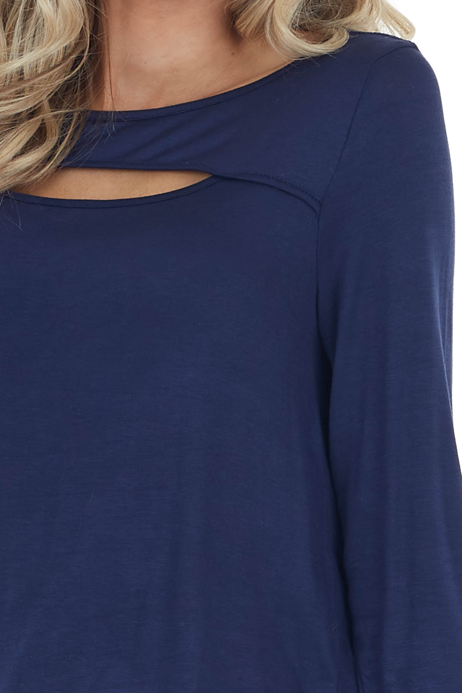 Navy Blue Soft Stretchy Long Sleeve Top with Chest Cutout