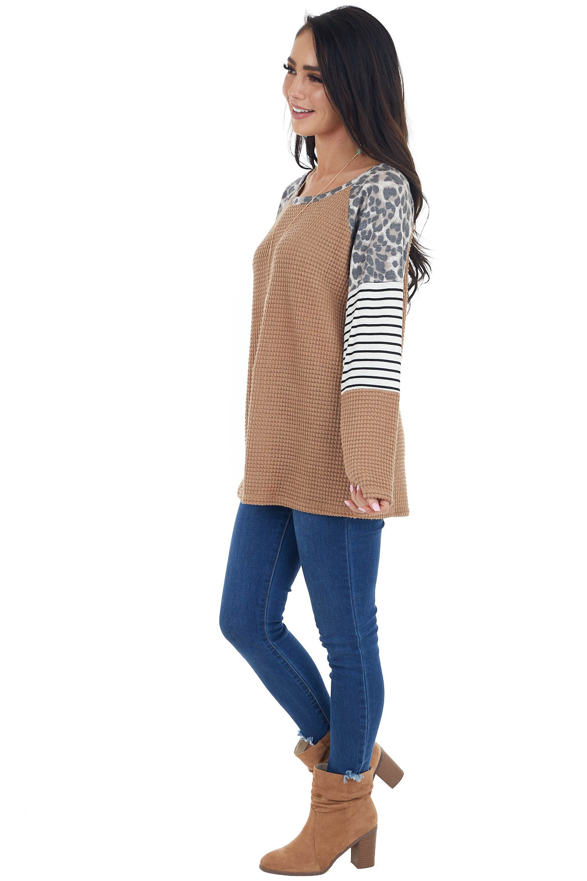 Camel Waffle Knit Top with Striped and Leopard Print Contrast