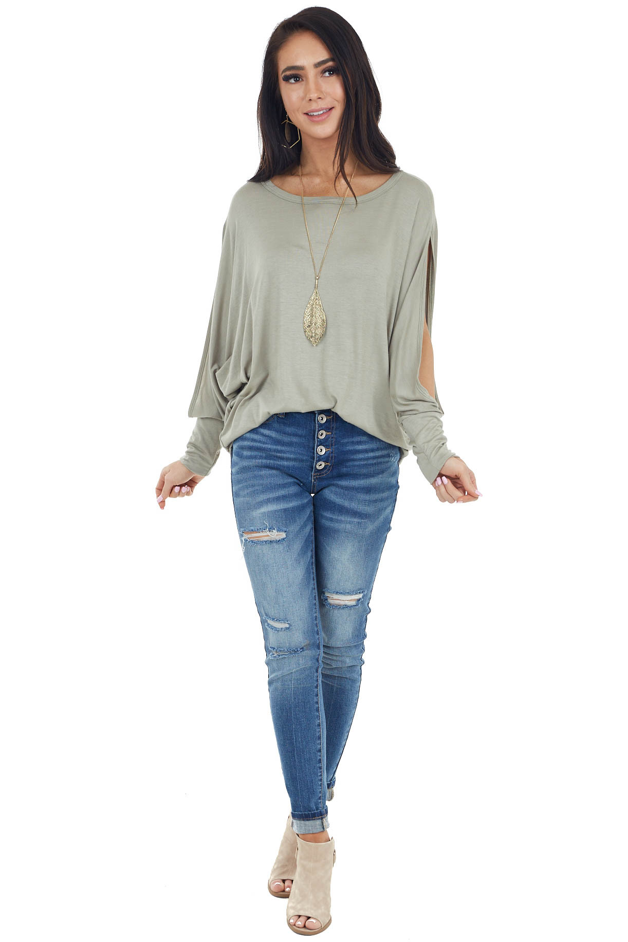 Sage Green Long Dolman Sleeve Knit Top with Cutout Detail