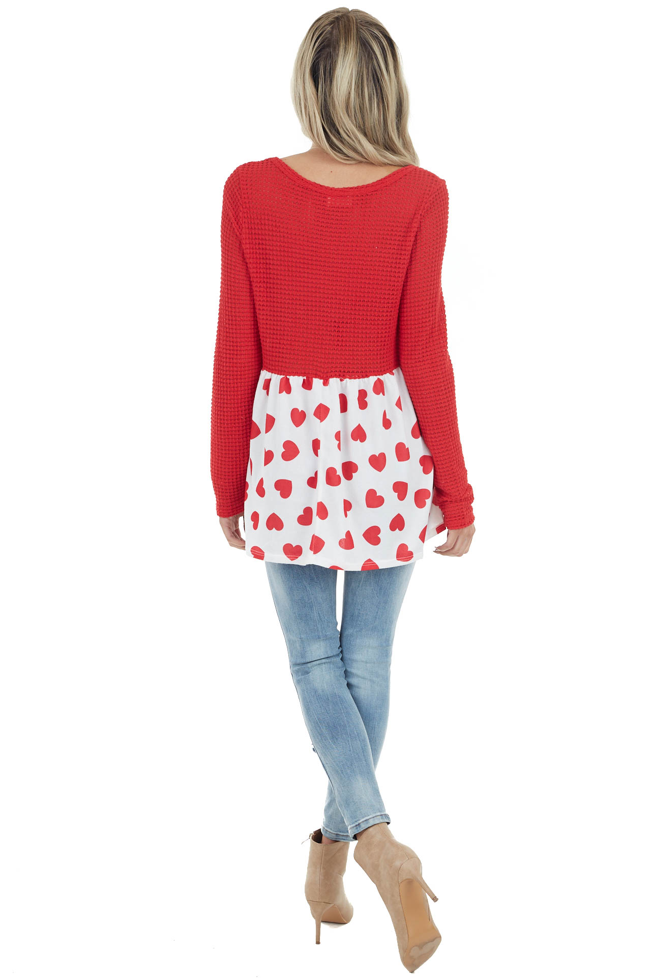 Lipstick Red Long Sleeve Knit Top with Heart Print Detail