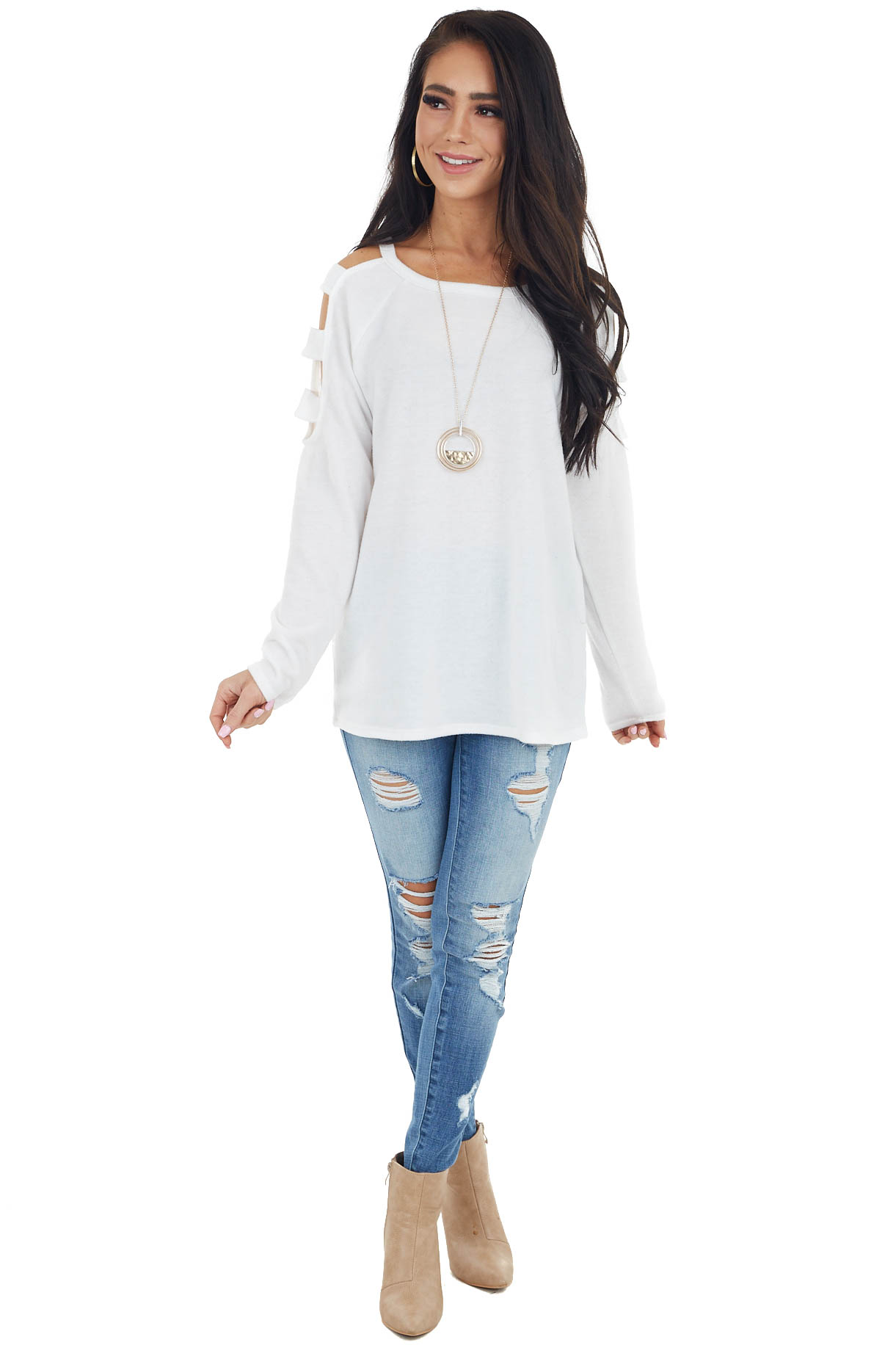 Ivory Long Sleeve Soft Knit Top with Ladder Details