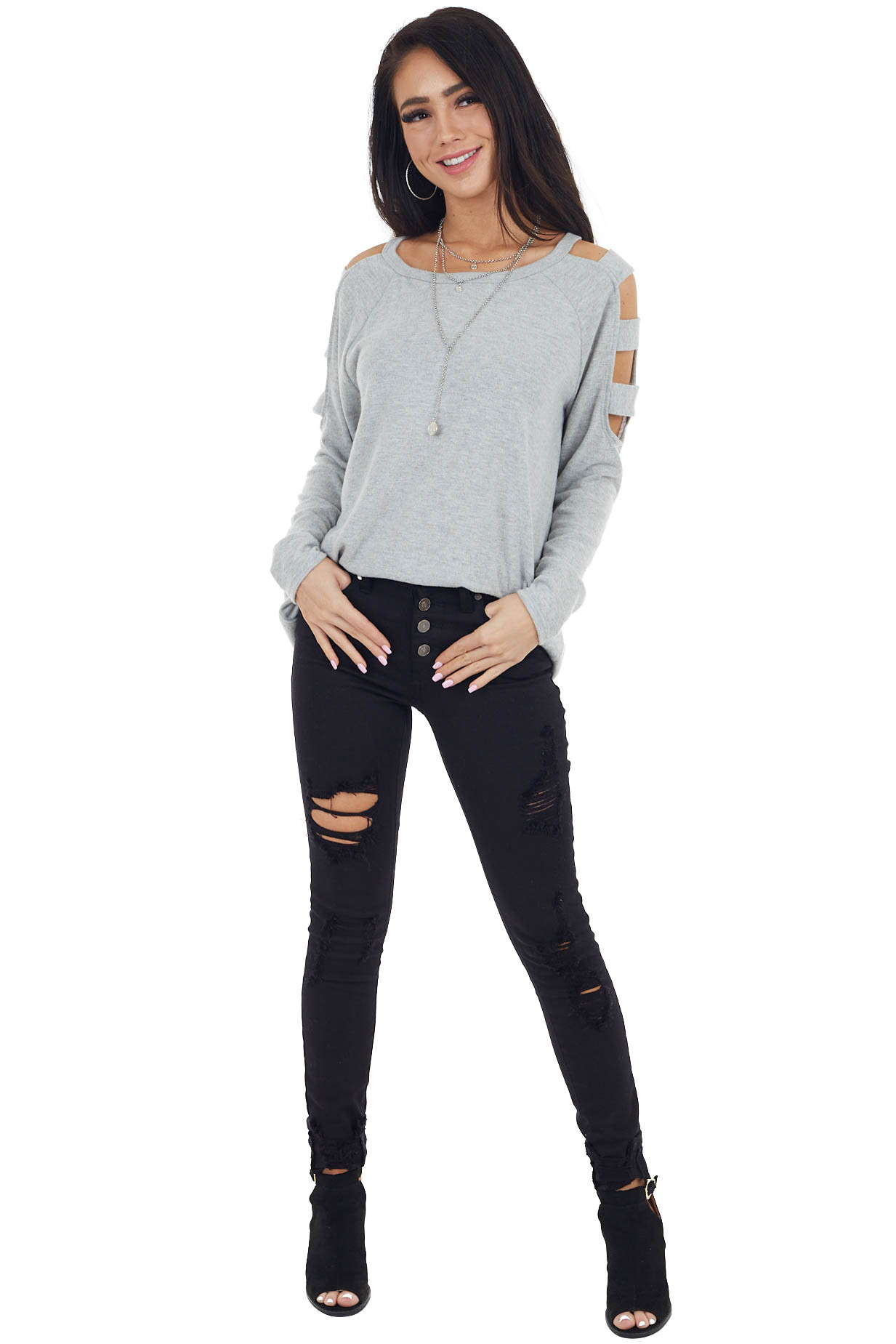 Dove Grey Long Sleeve Soft Knit Top with Ladder Details