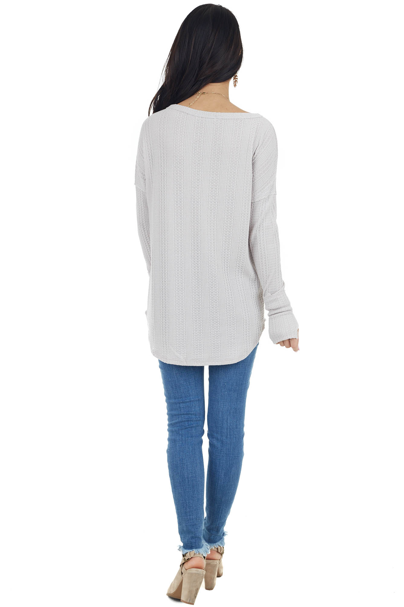 Lunar Grey Long Cuff Waffle Knit Top with Raw Edge Details