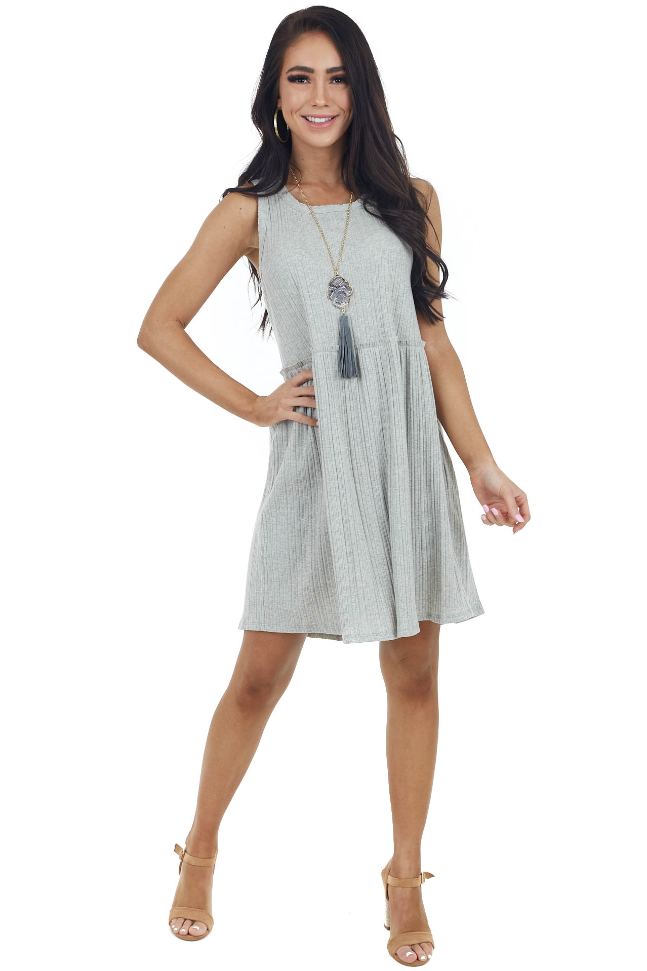 Heather Grey Ribbed Knit Sleeveless Dress with Raw Edges