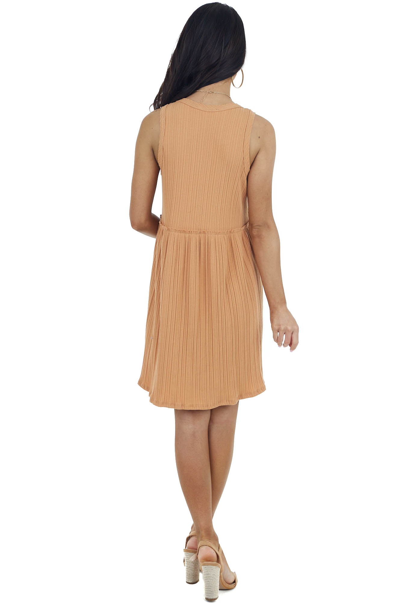 Terracotta Ribbed Knit Sleeveless Dress with Raw Edges