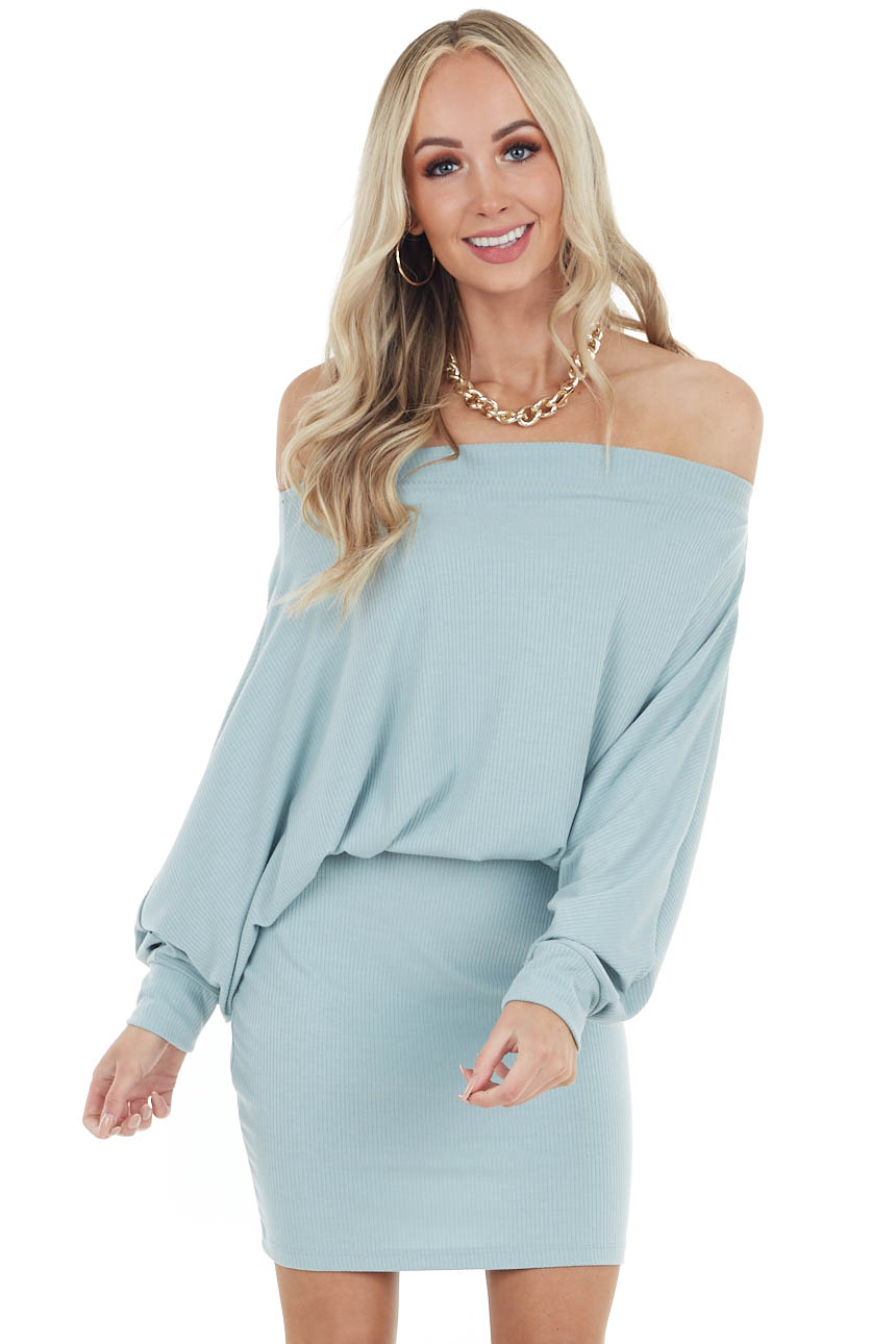 Dusty Sage Off The Shoulder Short Ribbed Knit Dress
