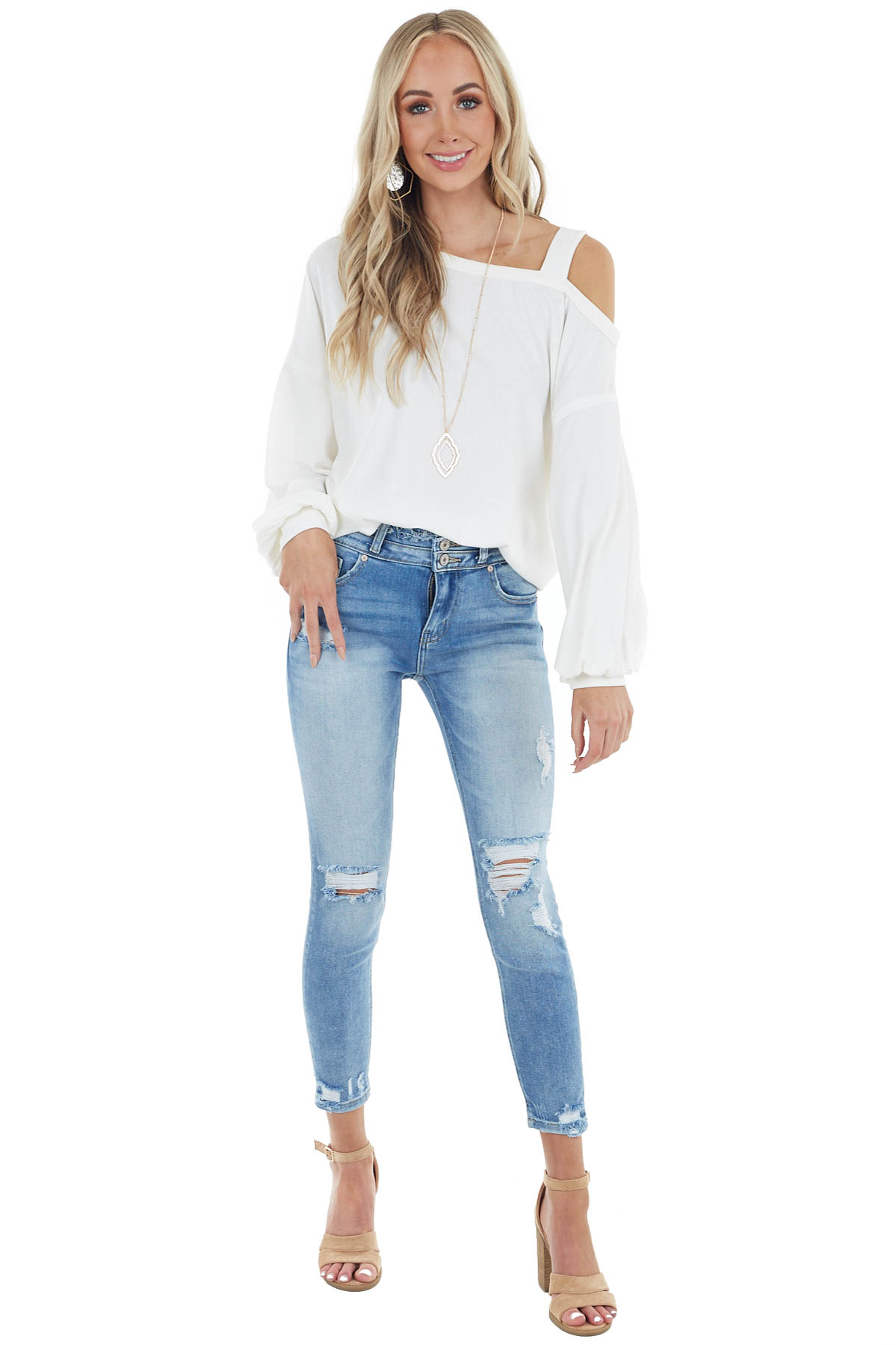 Cream Bubble Sleeve Top with Single Strap Cold Shoulder