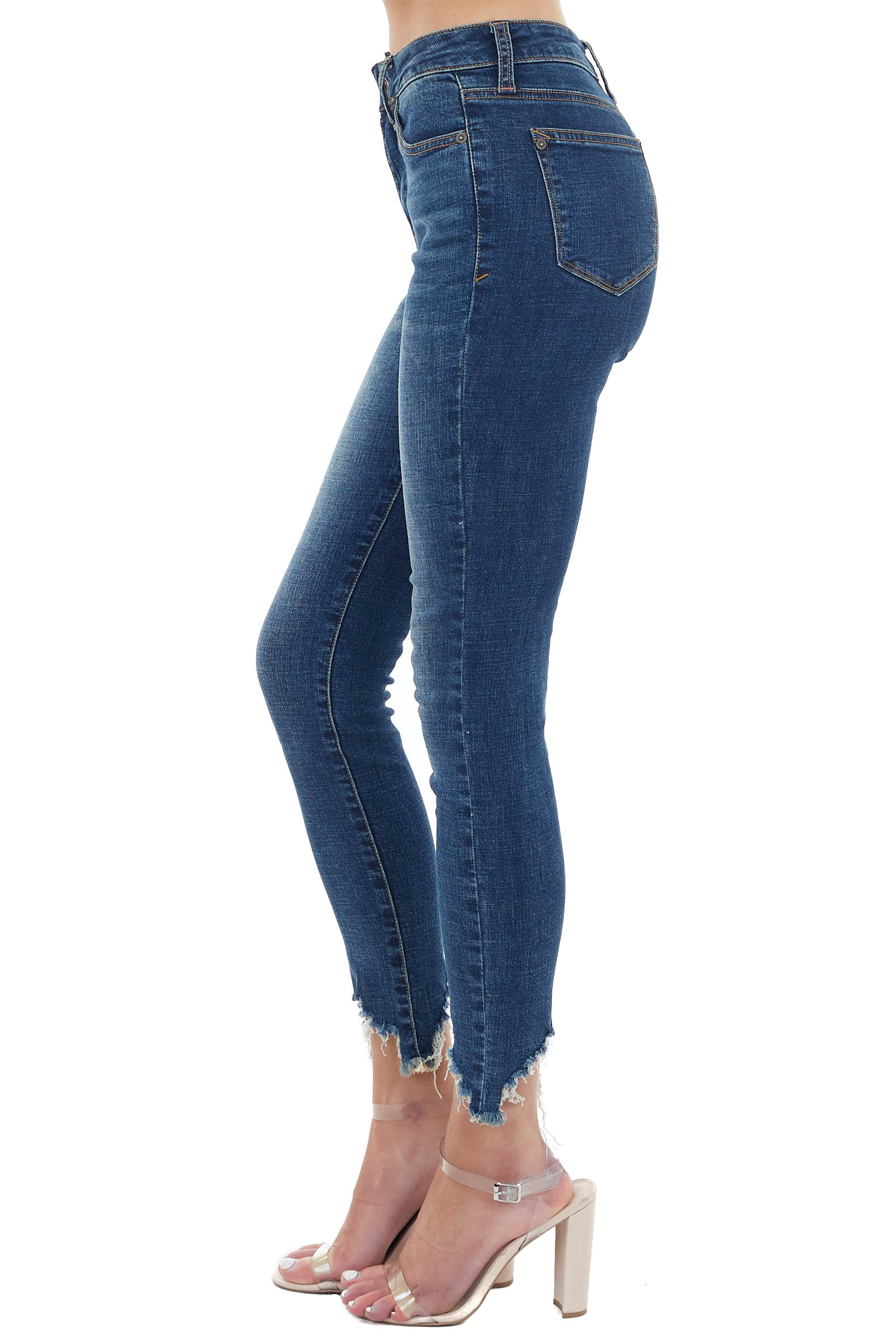 Dark Wash High Rise Skinny Jeans with Frayed Hem