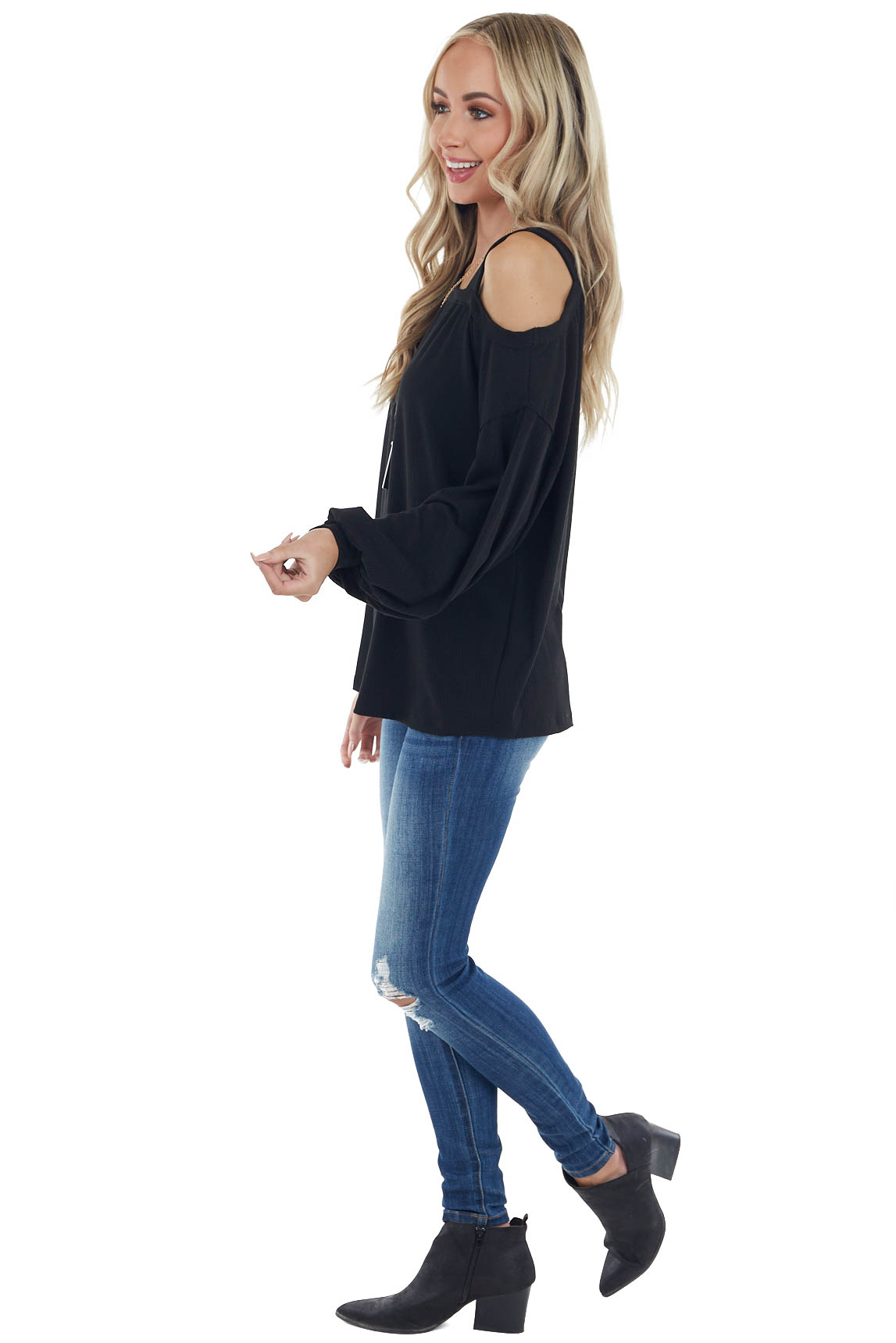 Black Bubble Sleeve Top with Single Strap Cold Shoulder
