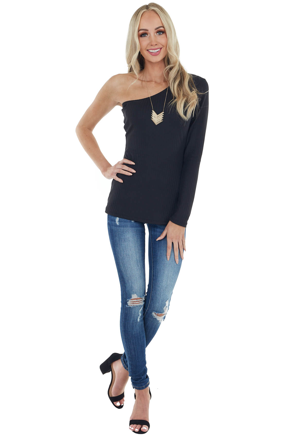 Black Fitted One Shoulder Stretchy Ribbed Knit Top