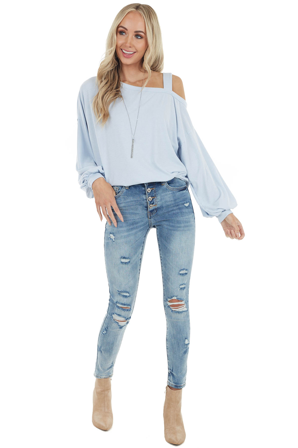 Baby Blue Bubble Sleeve Top with Single Strap Cold Shoulder