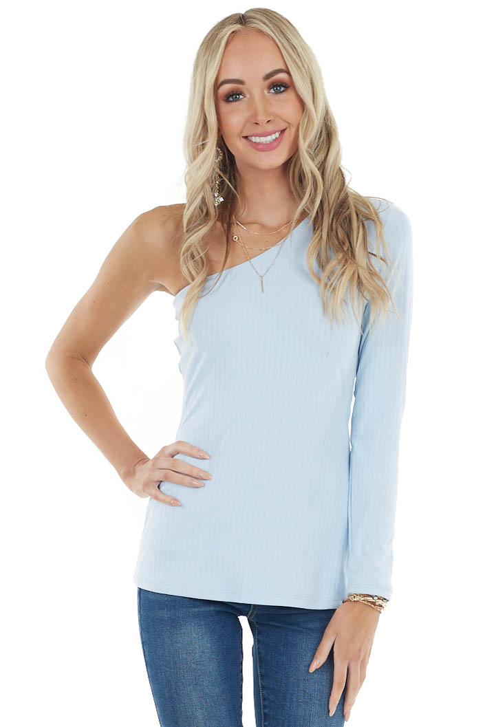 Powder Blue Fitted One Shoulder Stretchy Ribbed Knit Top