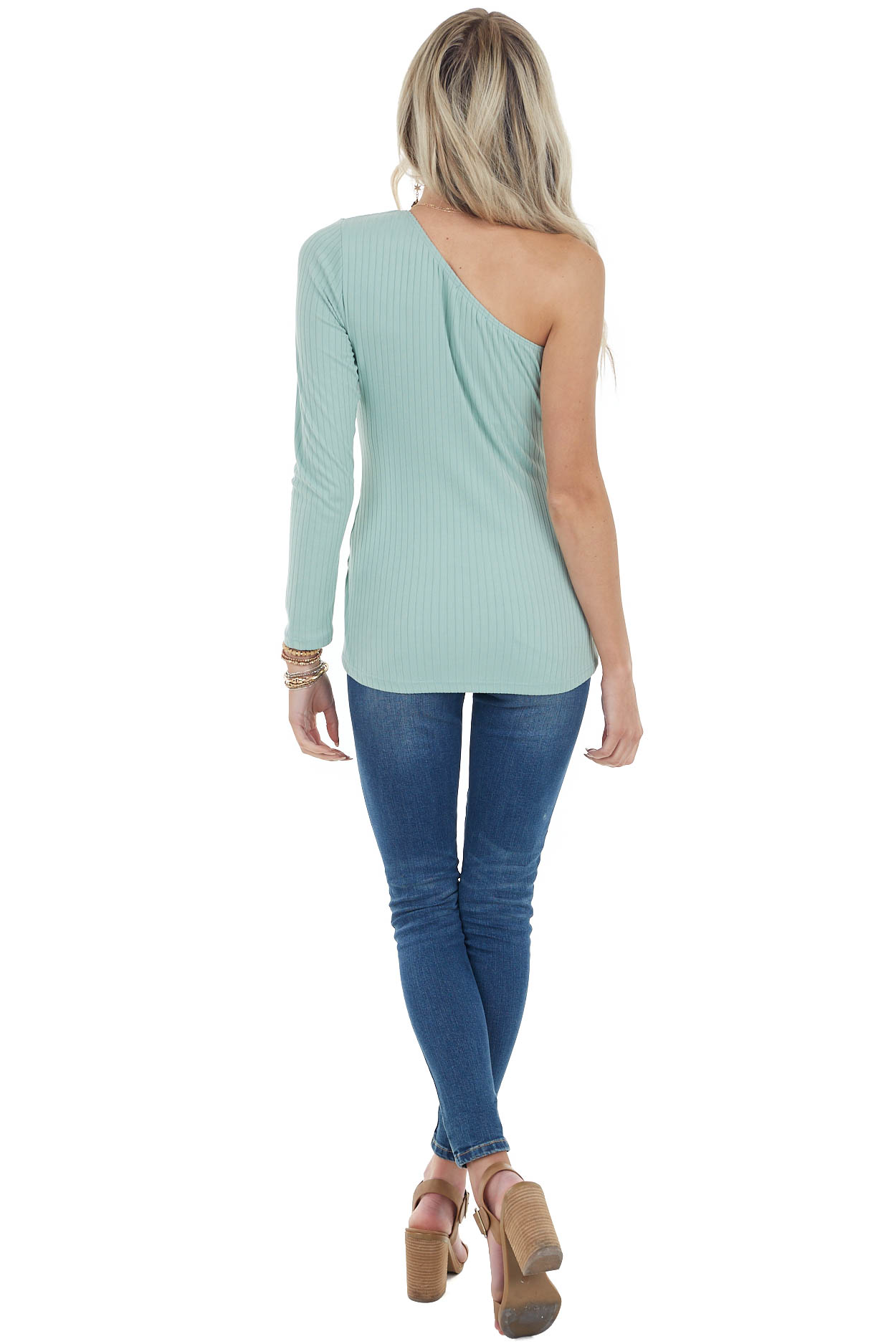 Sage Fitted One Shoulder Stretchy Ribbed Knit Top