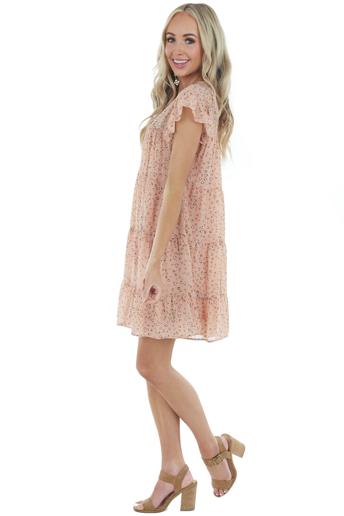 Peach Leopard Print Tiered Dress with Short Ruffled Sleeves