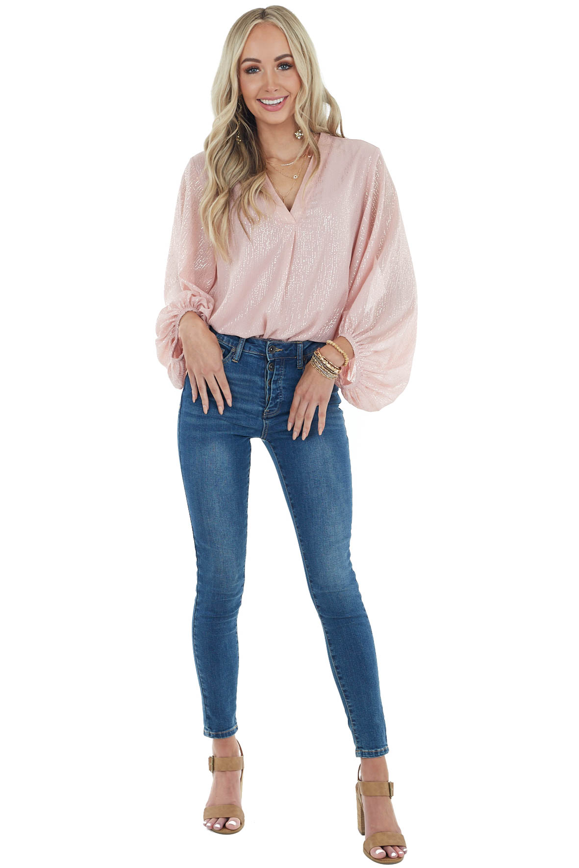 Dusty Blush Long Bubble Sleeve Top with Metallic Gold Detail