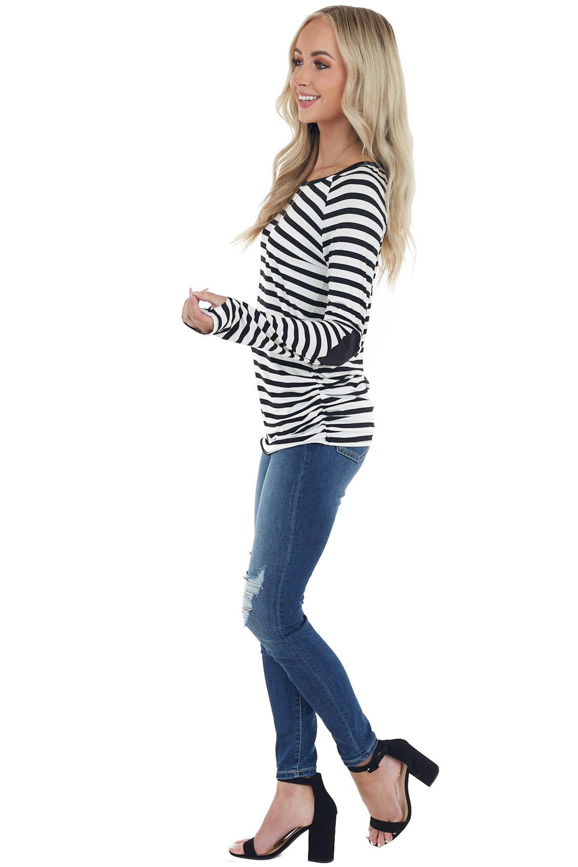 Black Striped Long Sleeve Knit Top with Heart Elbow Patches