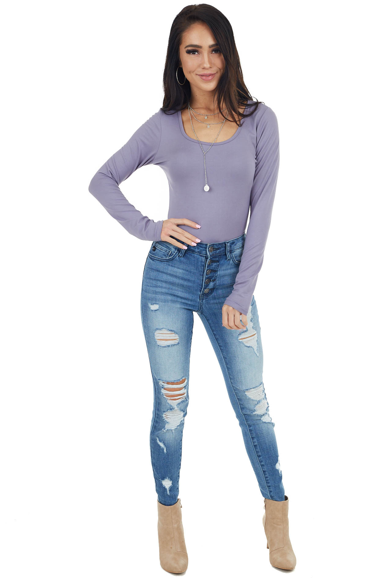 Lavender Knit Long Sleeve Bodysuit with Wide Round Neckline