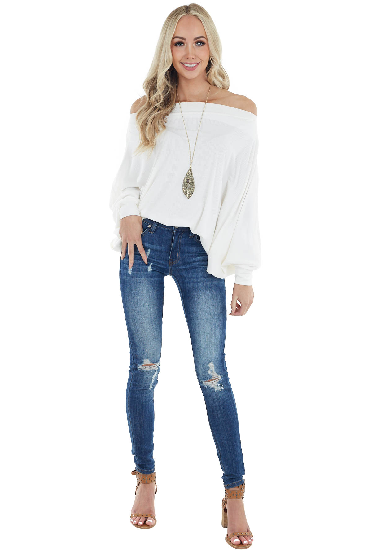 Ivory Off the Shoulder Dolman Sleeve Ribbed Knit Top