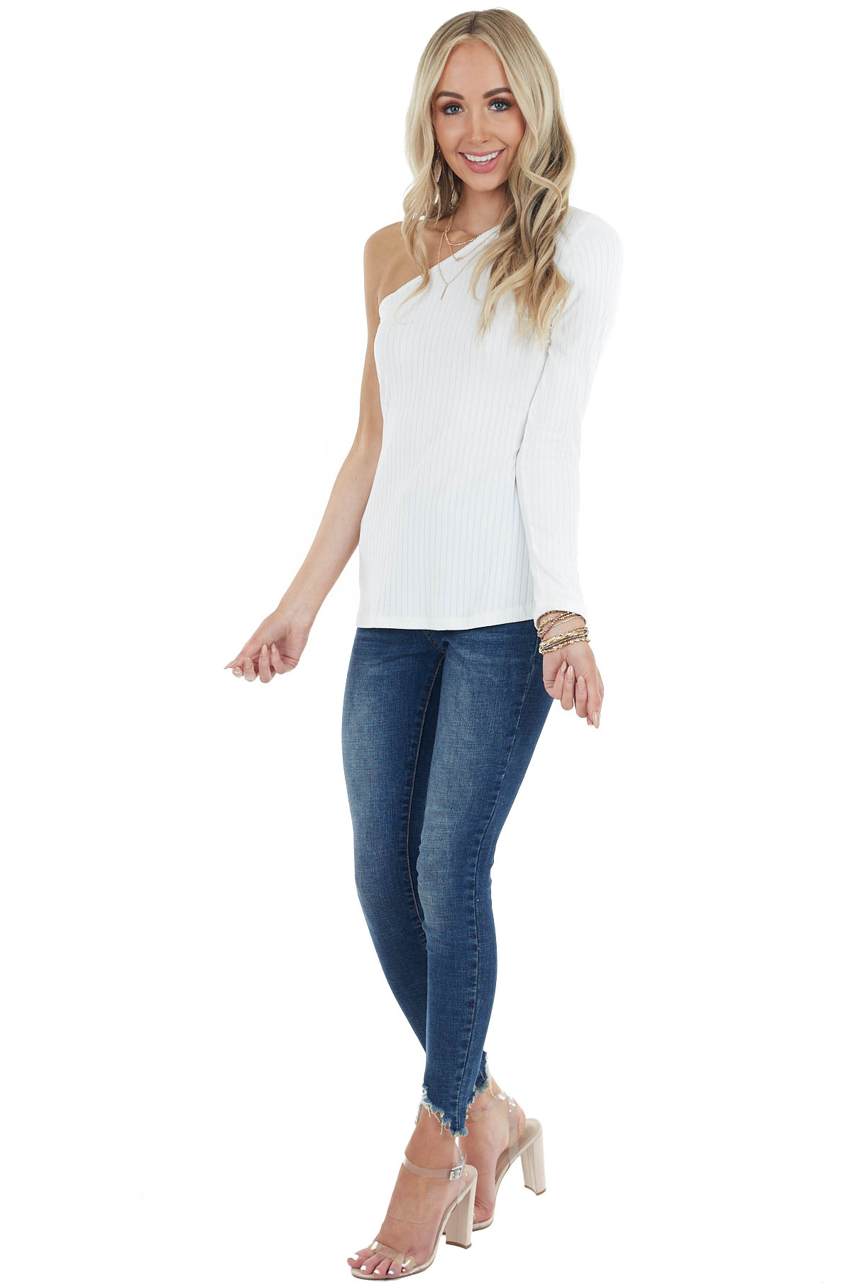Ivory Fitted Single Sleeve Stretchy Ribbed Knit Top