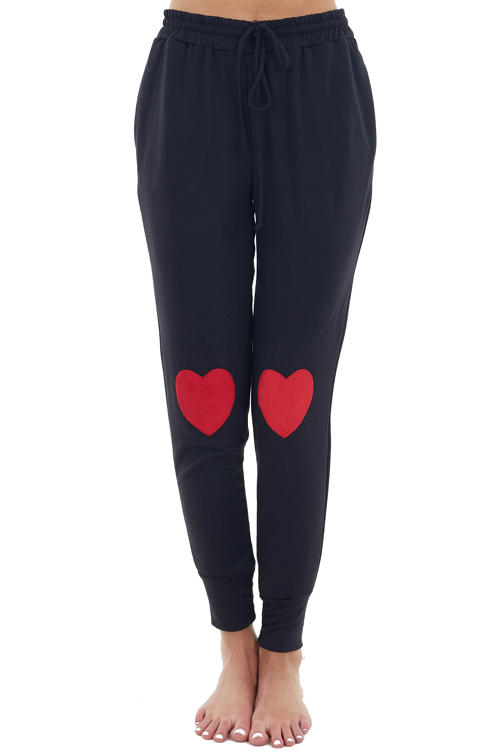 Black and Ruby Sweatpants with Heart and Drawstring Details