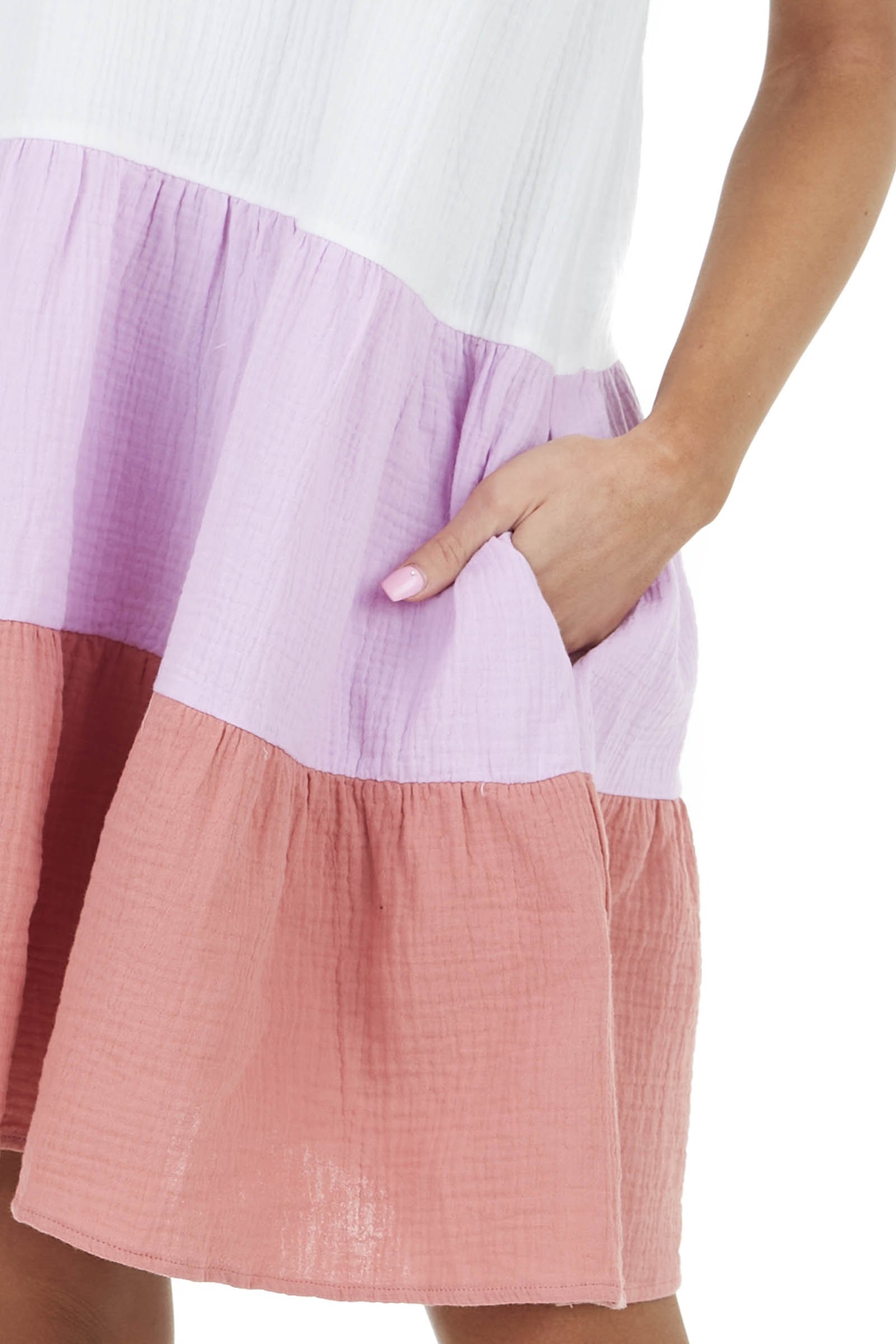 Multicolor Colorblock Tiered Short Dress with Ruffle Detail