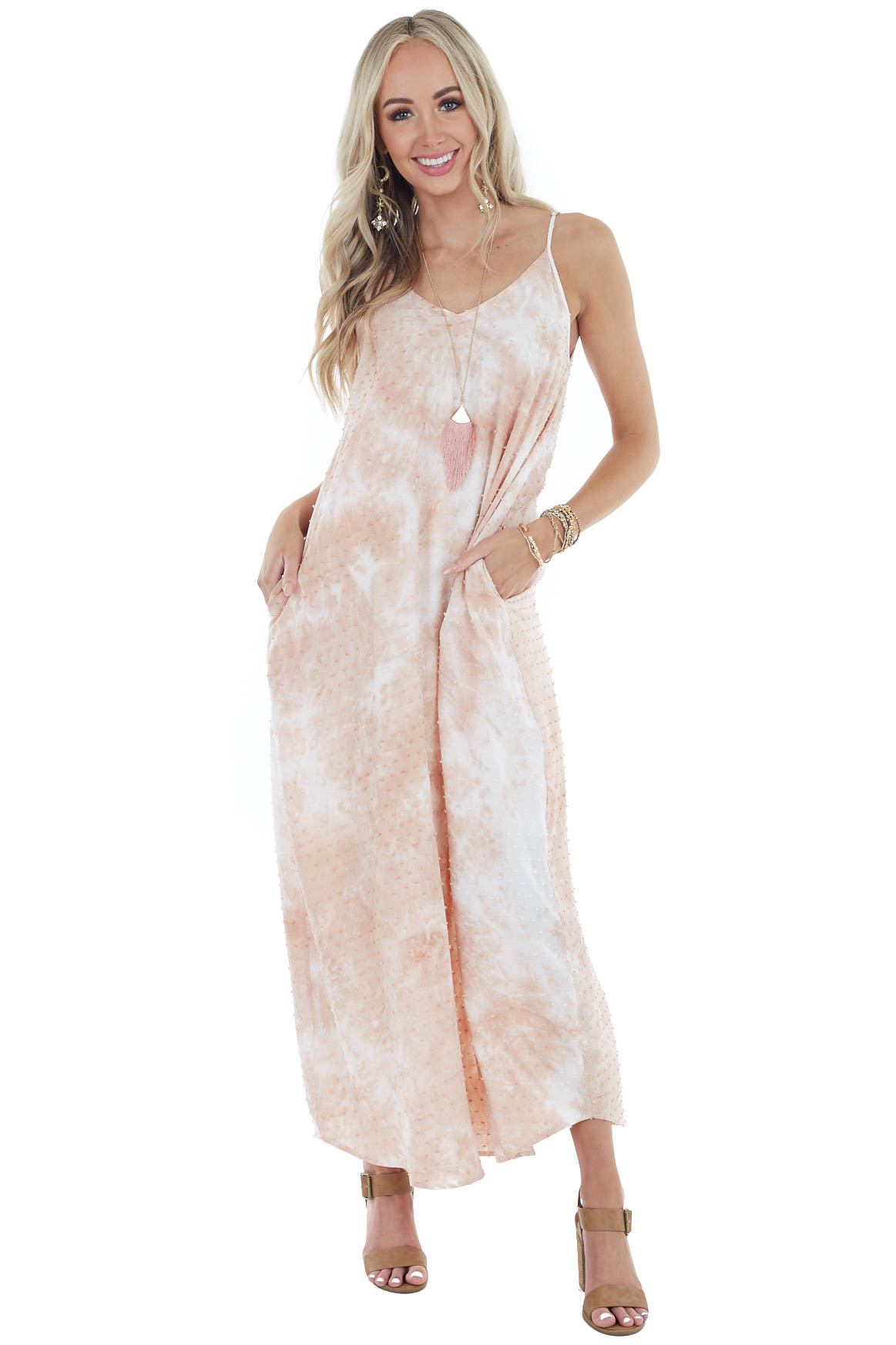 Dusty Peach Tie Dye Sleeveless Maxi Dress with Pockets