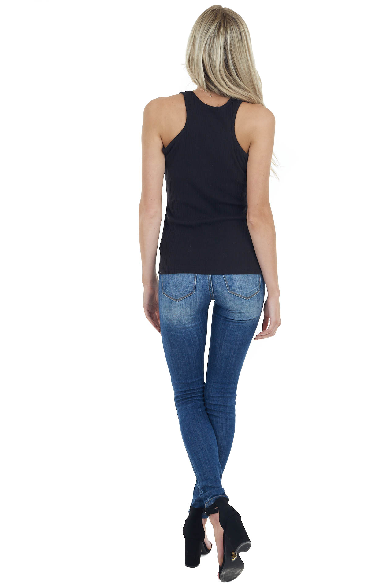 Black Sleeveless Ribbed Knit Top with Round Neckline