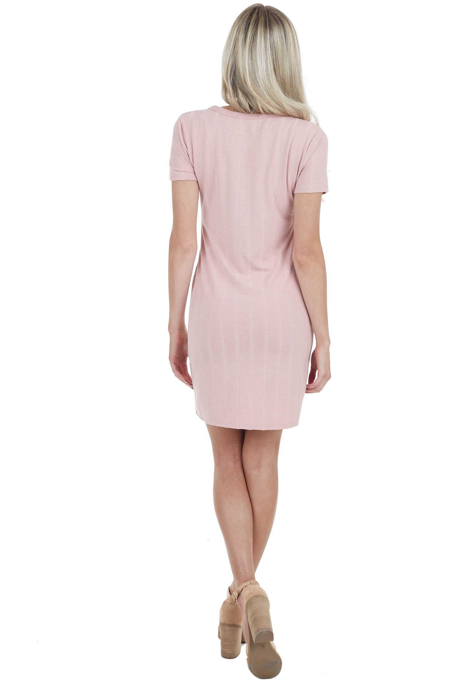Dusty Rose Short Sleeve Mini Dress with Textured Stripes