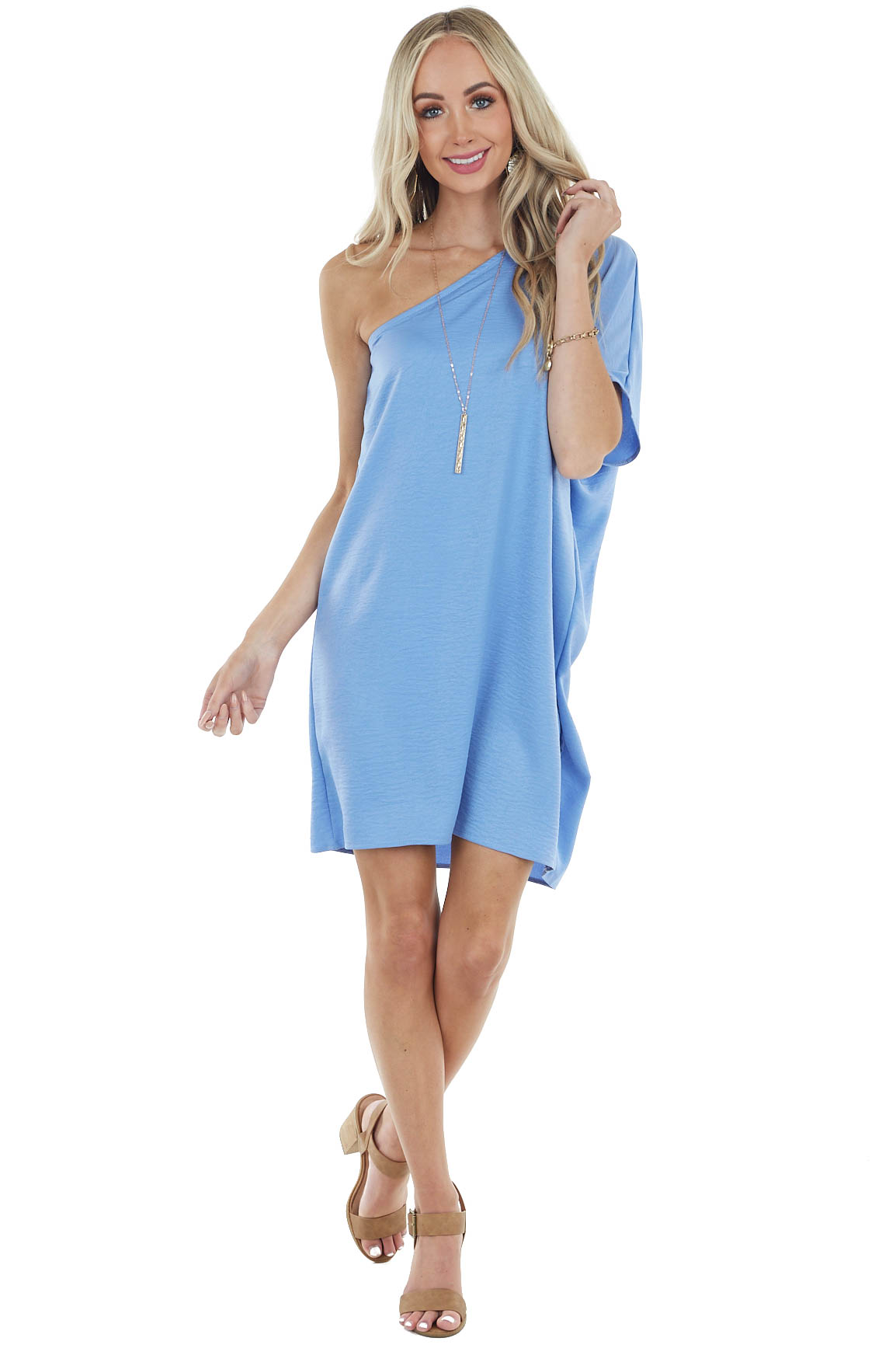 Dusty Blue Textured Shift Dress with Single Short Sleeve