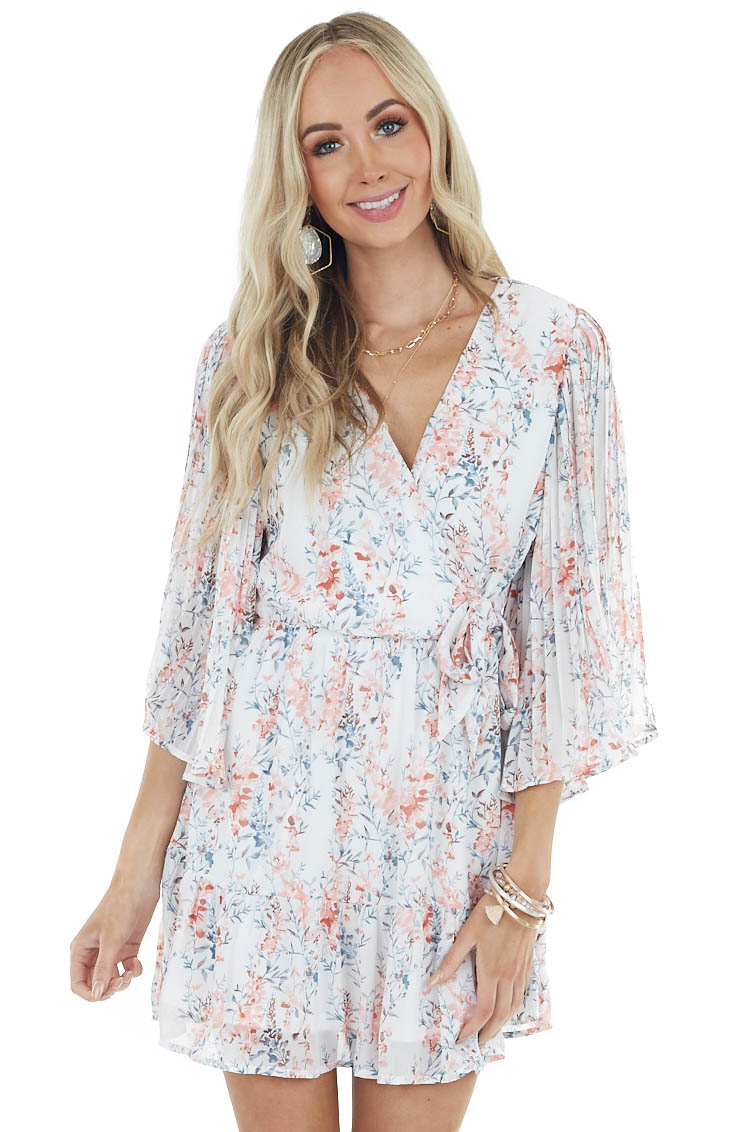 Ivory and Blush Floral Print Short Dress with Flare Sleeves