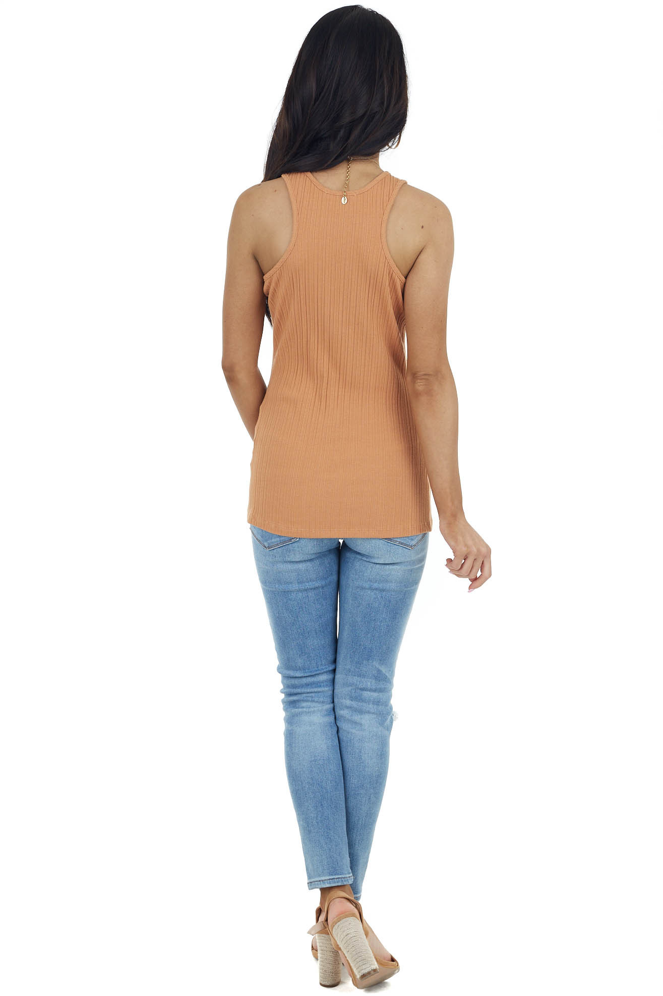Camel Sleeveless Ribbed Knit Top with Round Neckline