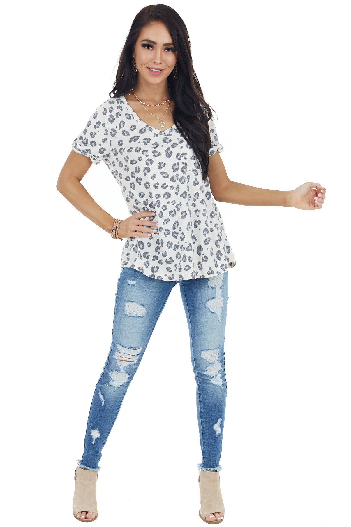 Ivory Short Sleeve V Neck Leopard Print Top with Pocket