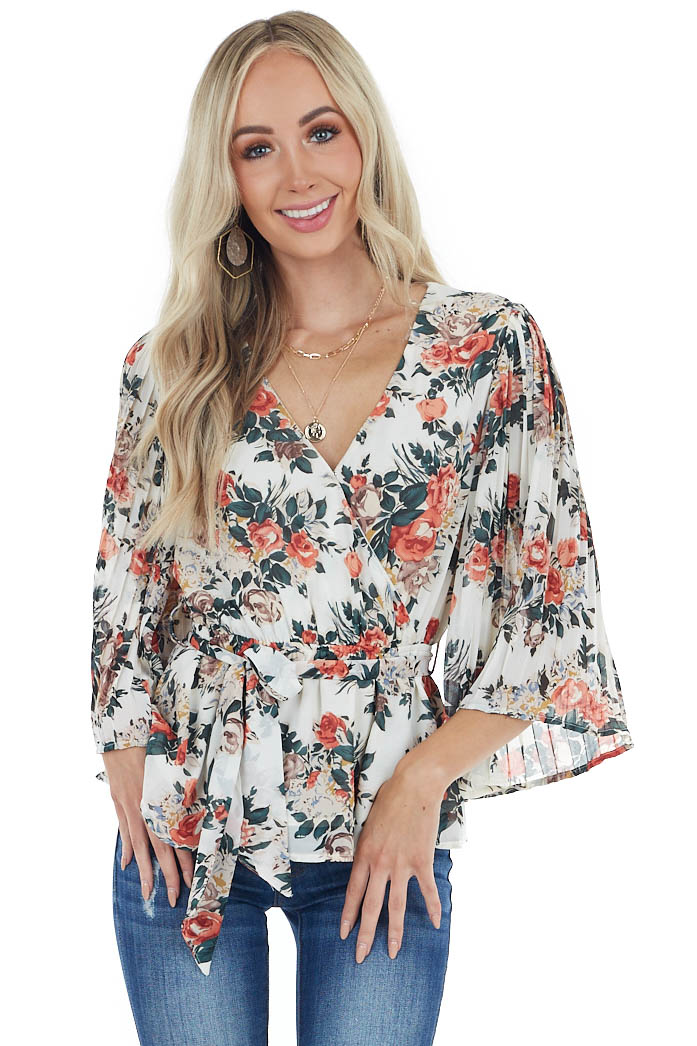 Ivory Floral Print Surplice Top with Waist Tie Detail