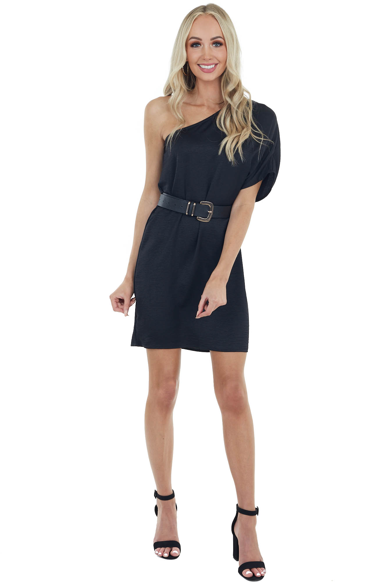 Black Textured Shift Dress with Single Short Sleeve