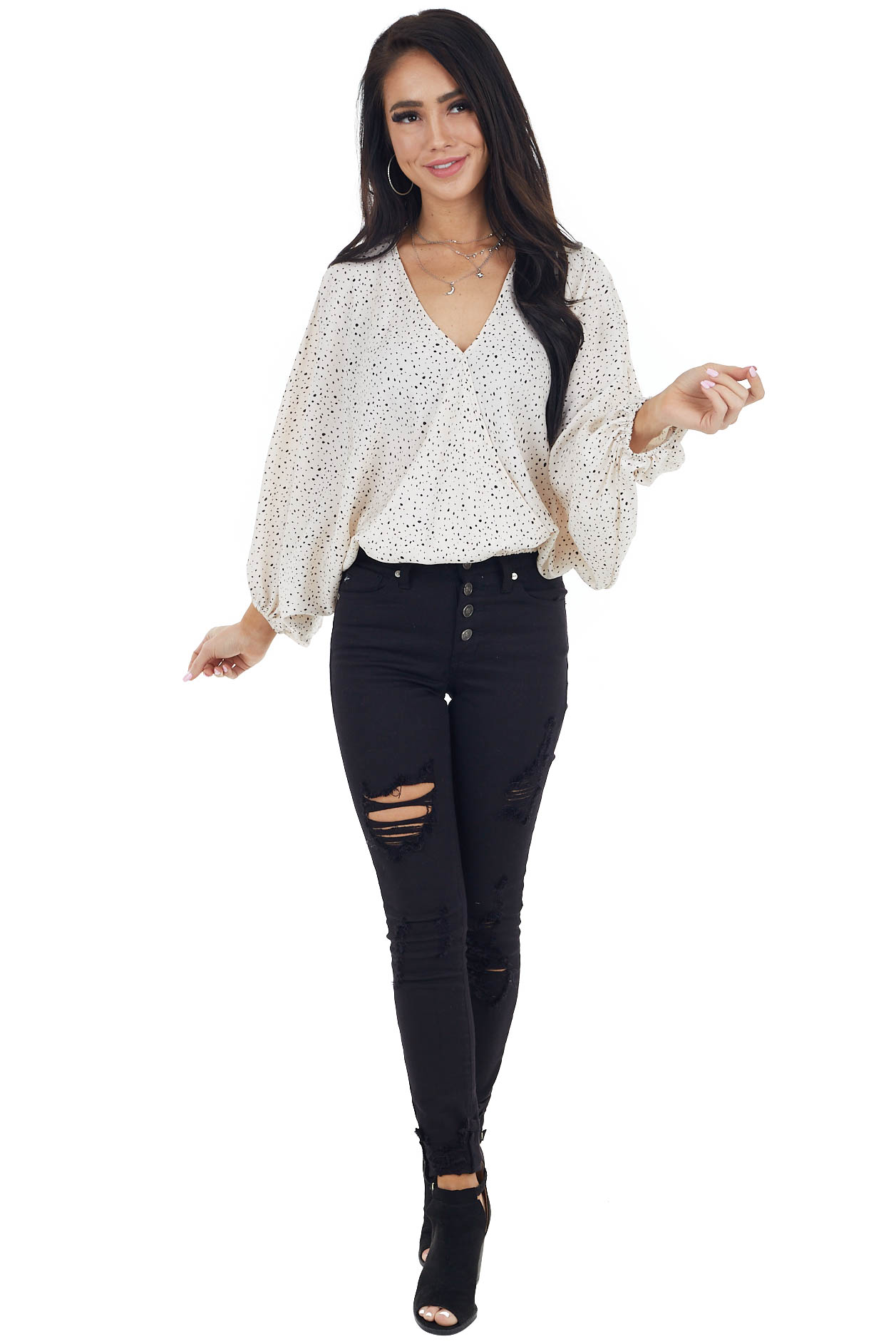 Cream Animal Print Knit Top with Long Dolman Sleeves