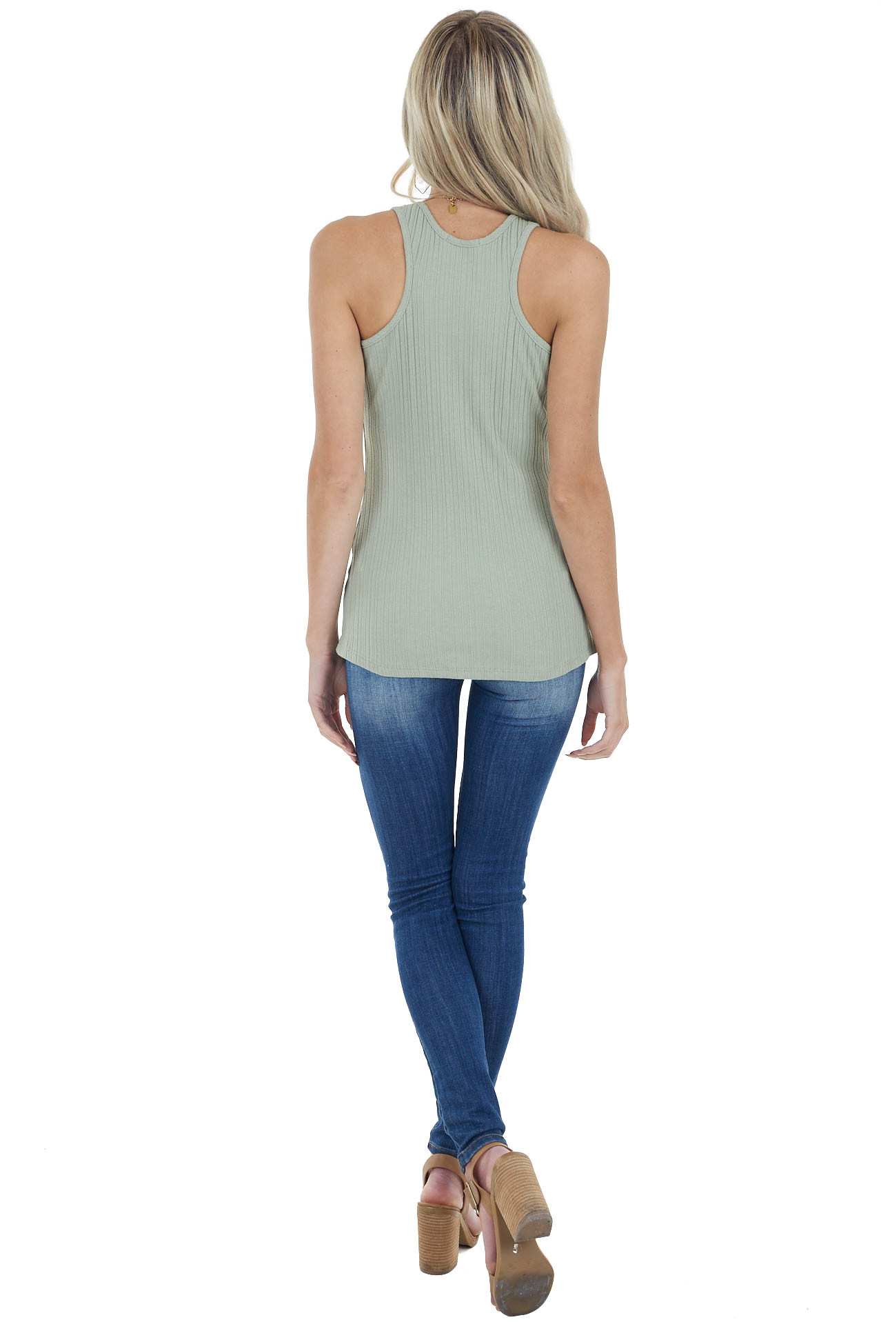 Dusty Sage Sleeveless Ribbed Knit Top with Round Neckline