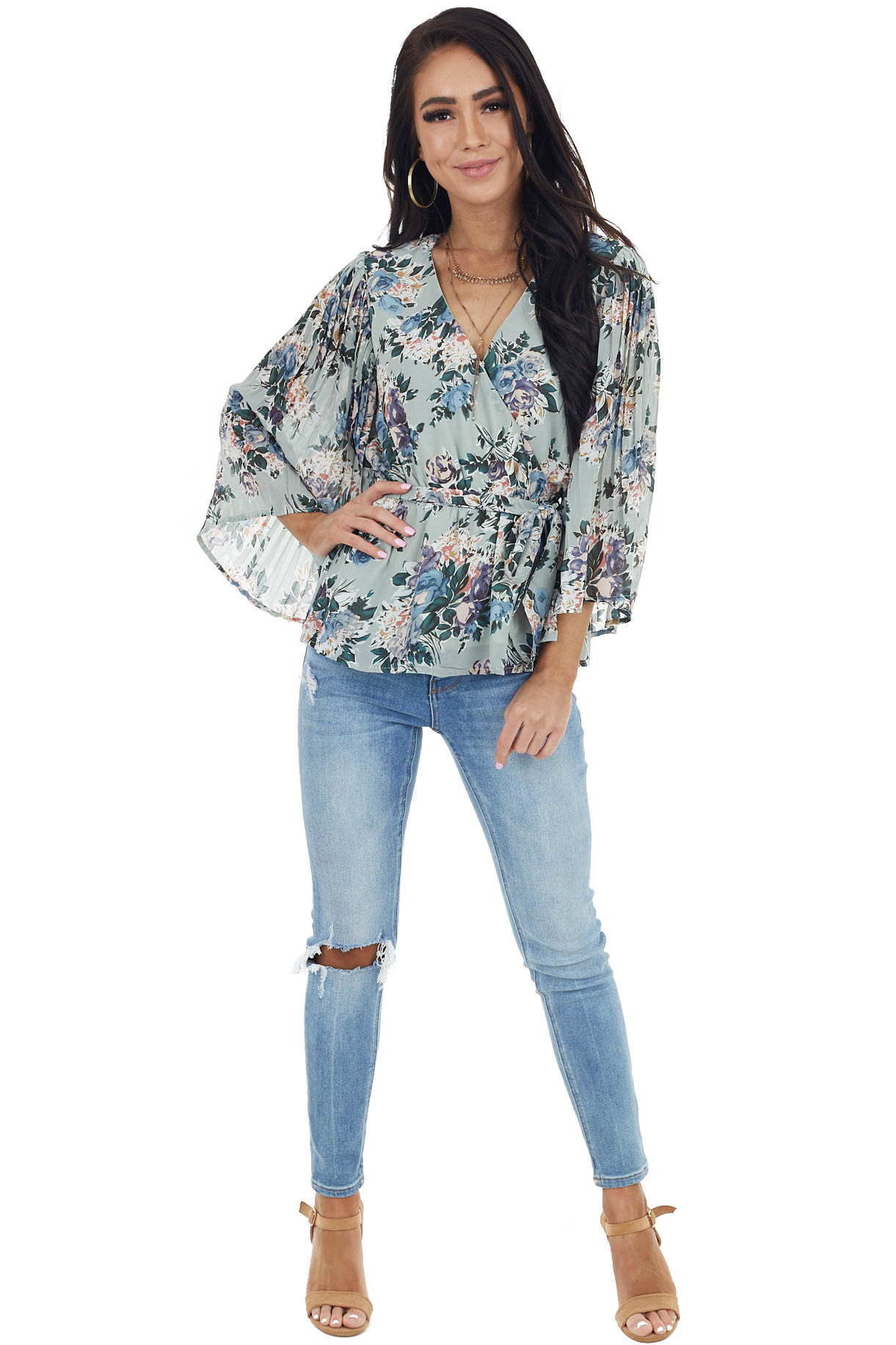 Sage Floral Print Surplice Top with Waist Tie Detail