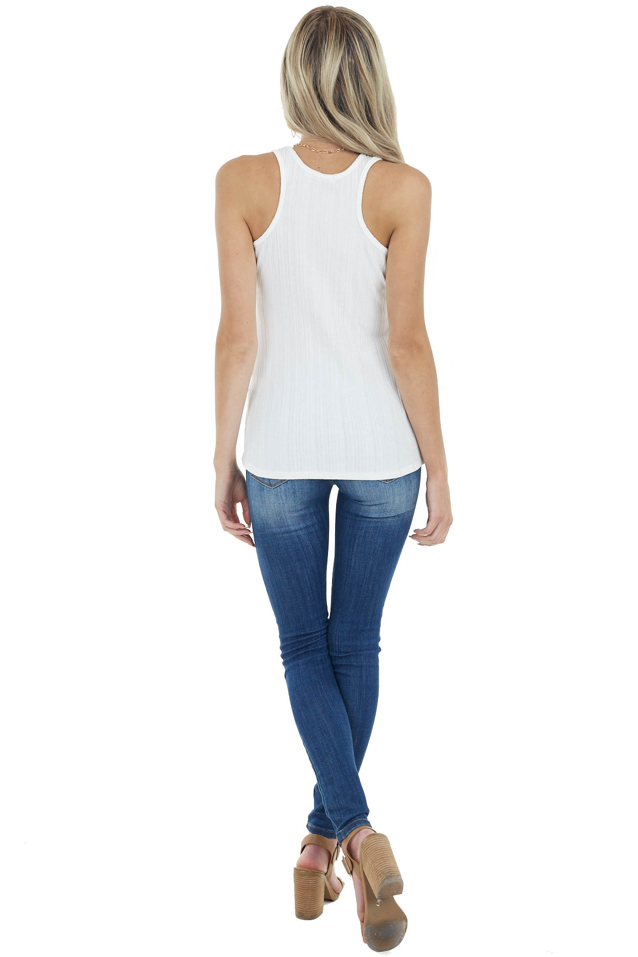 Cream Sleeveless Ribbed Knit Top with Round Neckline