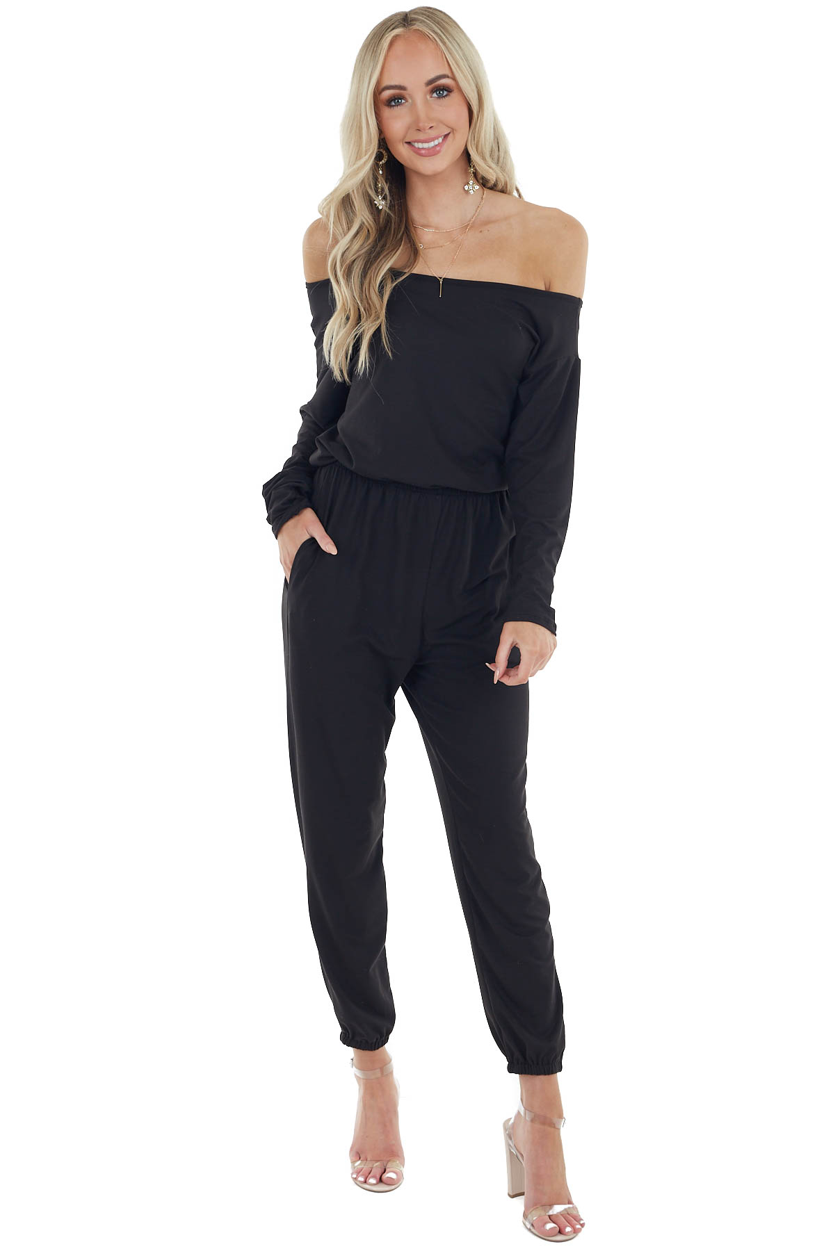 Black Long Sleeve Jumpsuit with Pockets and Boat Neckline