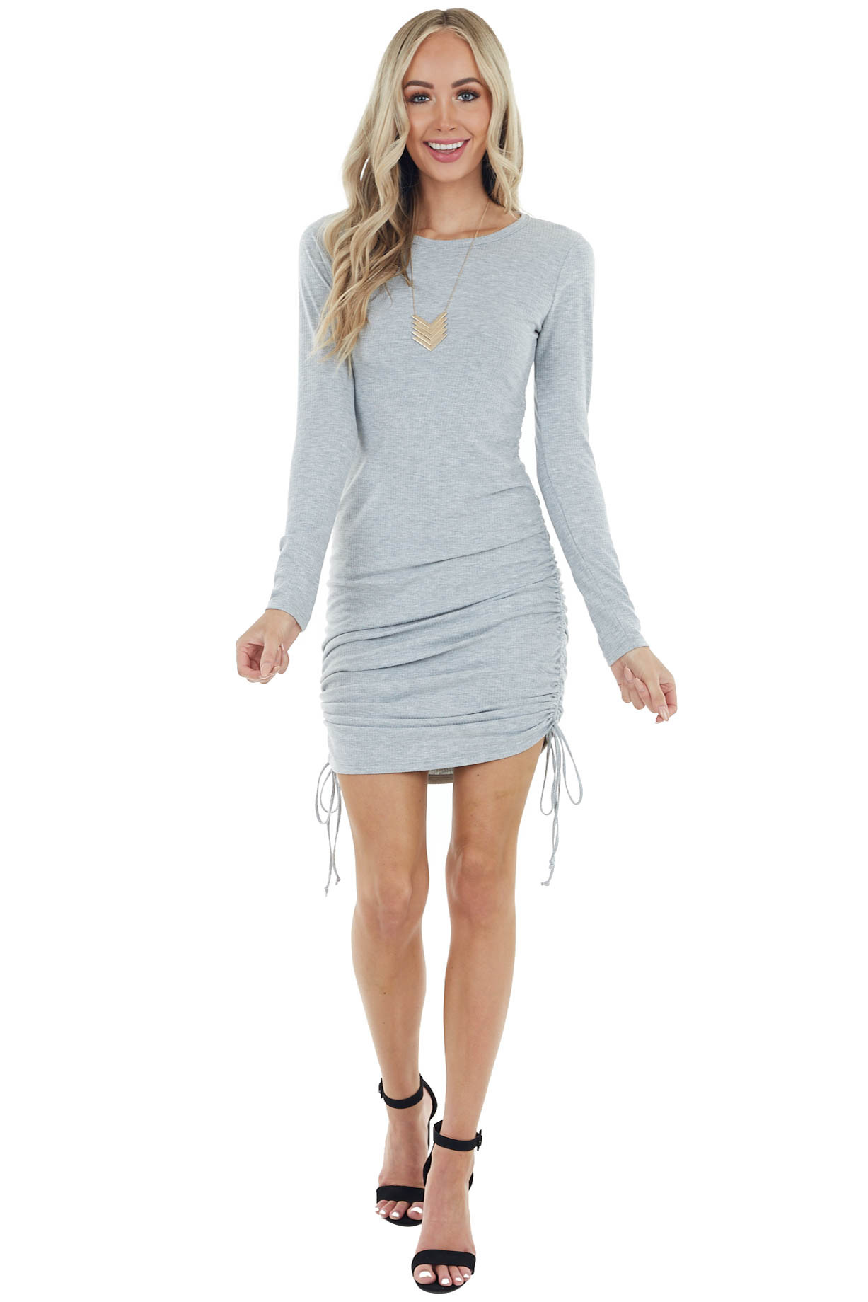 Heather Grey Ribbed Knit Long Sleeve Bodycon Mini Dress