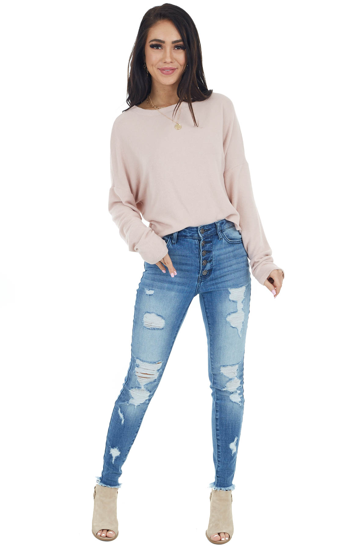 Blush Long Sleeve Crop Top with Back Cut Out and Tie Detail