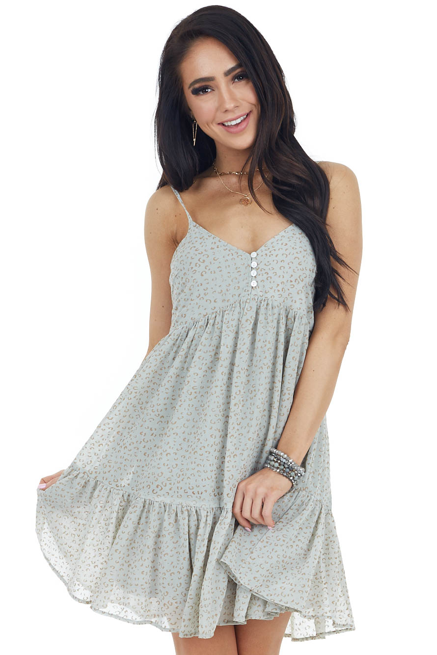 Sage Leopard Print Babydoll Dress with Spaghetti Straps