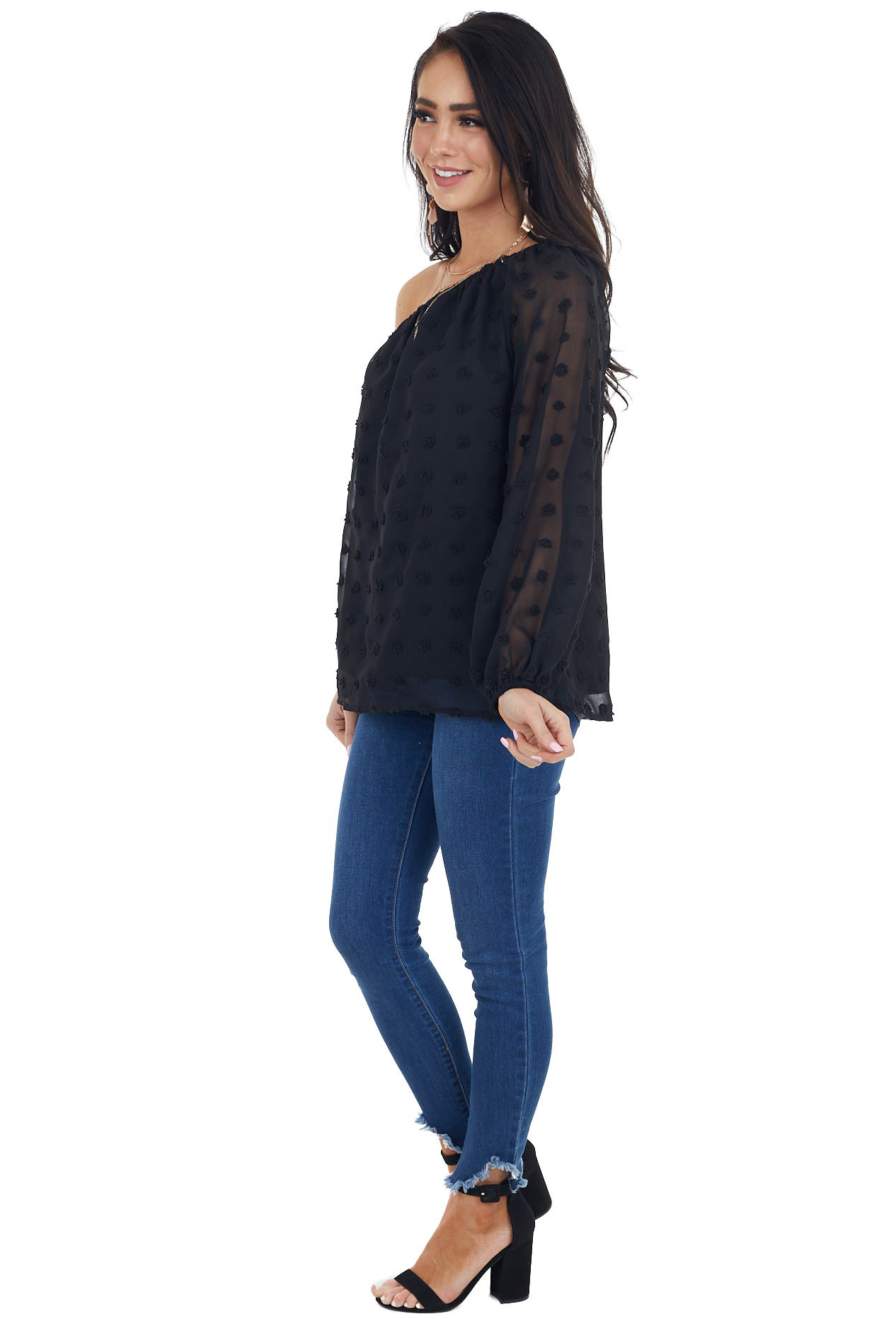 Black Large Swiss Dot Woven Chiffon Blouse with One Shoulder