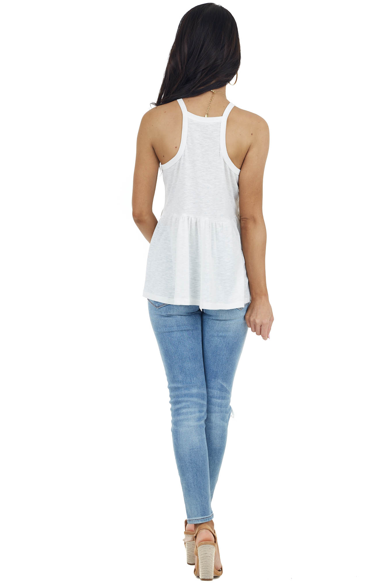 Ivory Halter Neck Stretchy Knit Top with Flowy Drop Waist