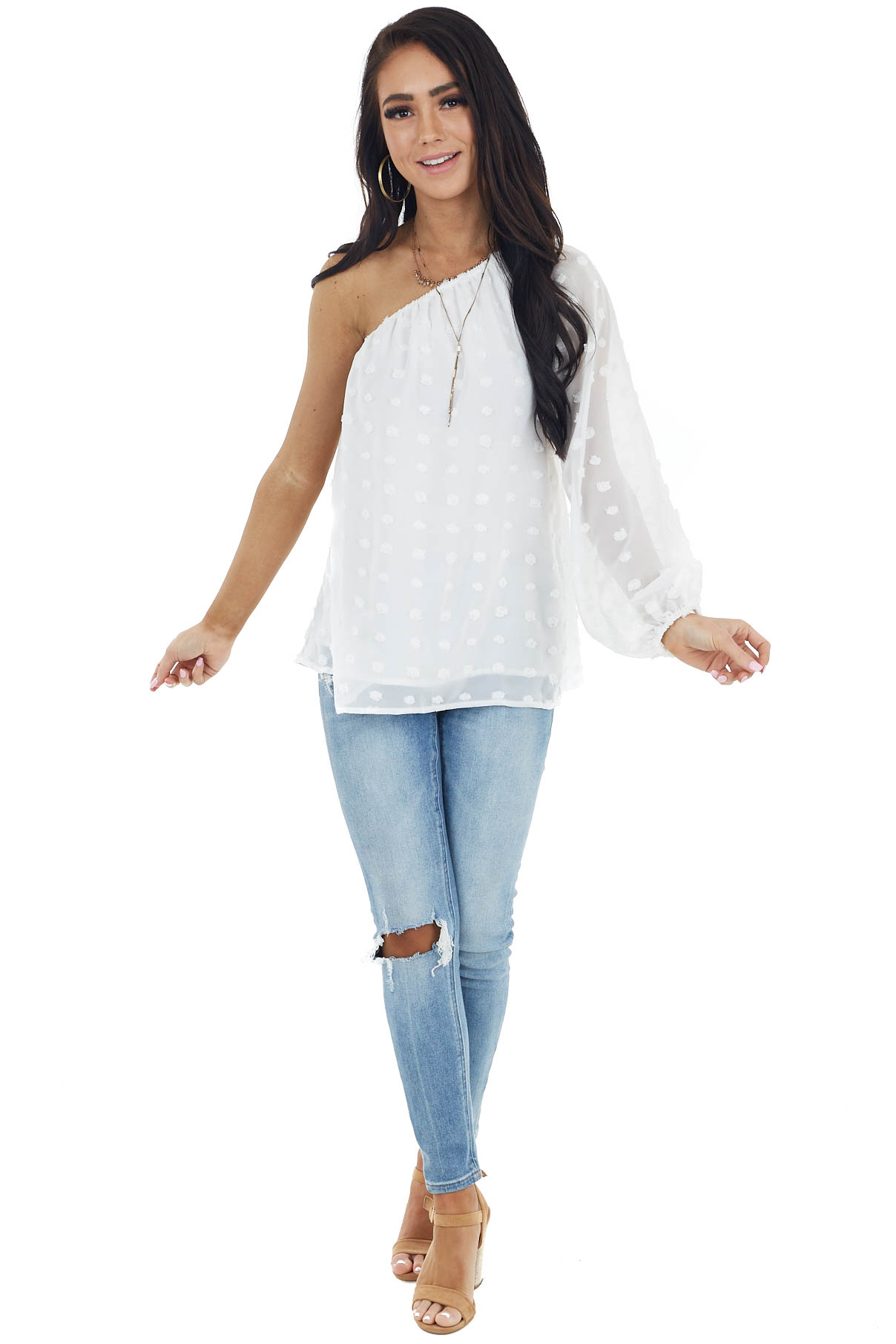 White Large Swiss Dot Woven Chiffon Blouse with One Shoulder