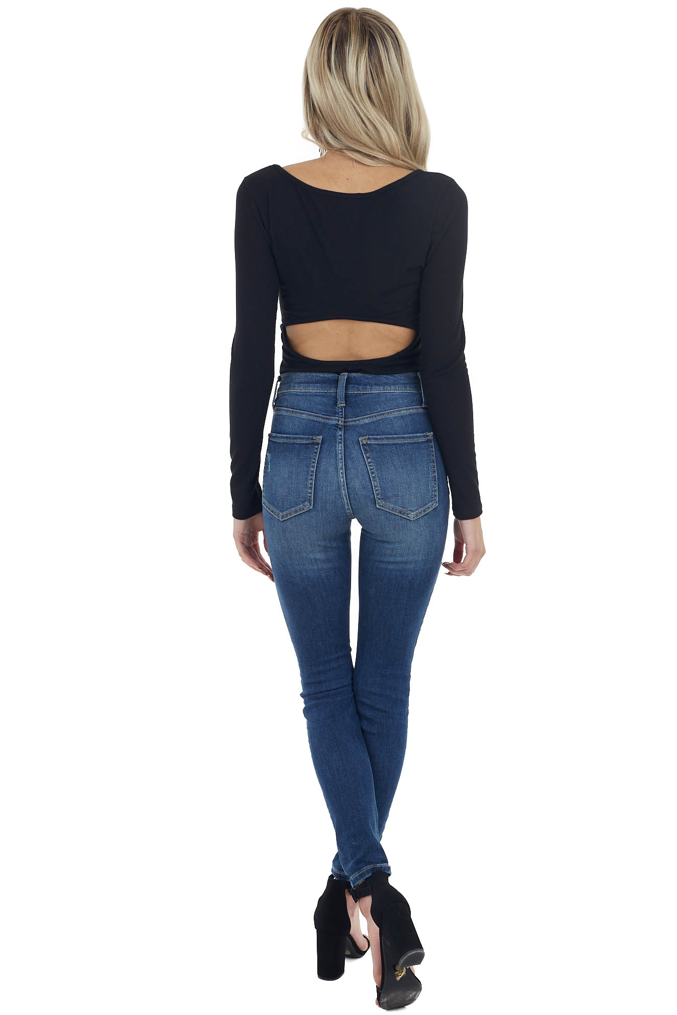 Black Ribbed Long Sleeve Knit Bodysuit with Open Back