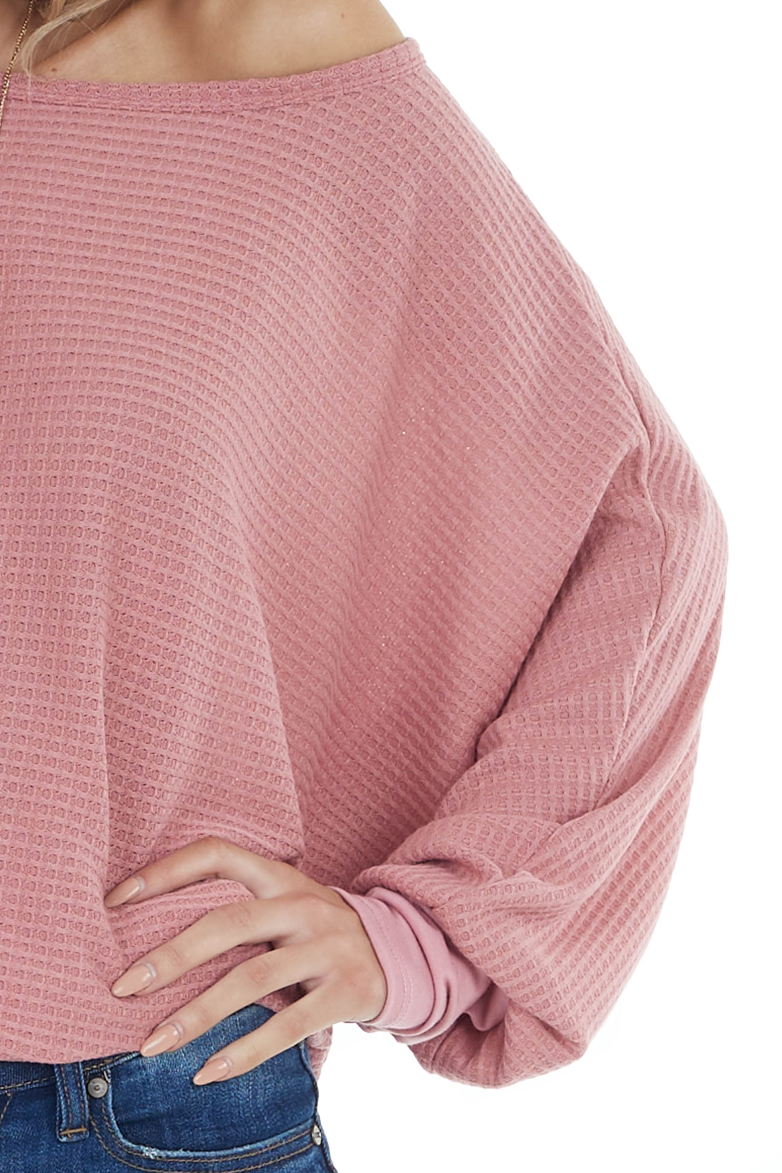 Deep Mauve Dolman Sleeve Waffle Knit Top with Cuff Detail