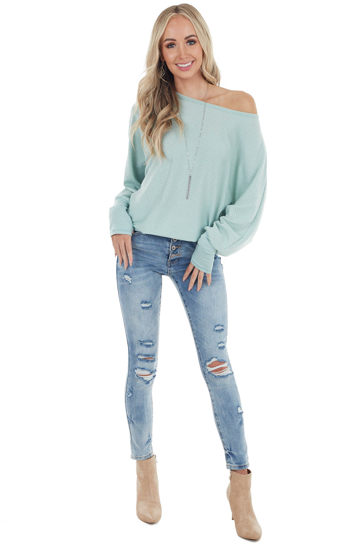 Rich Sage Dolman Sleeve Waffle Knit Top with Cuff Detail