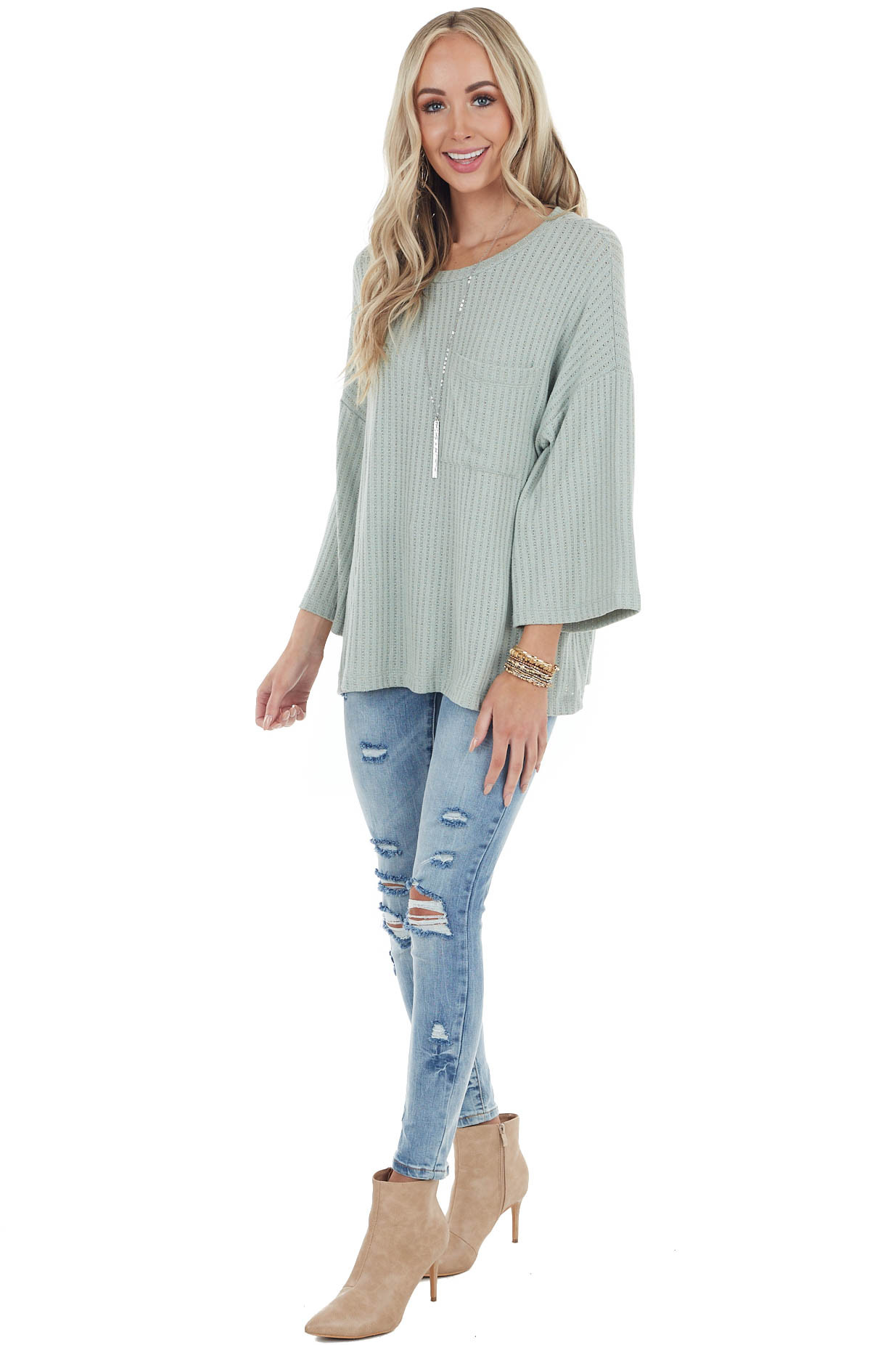 Sage Ribbed Stretchy Knit Top with Front Pocket Detail